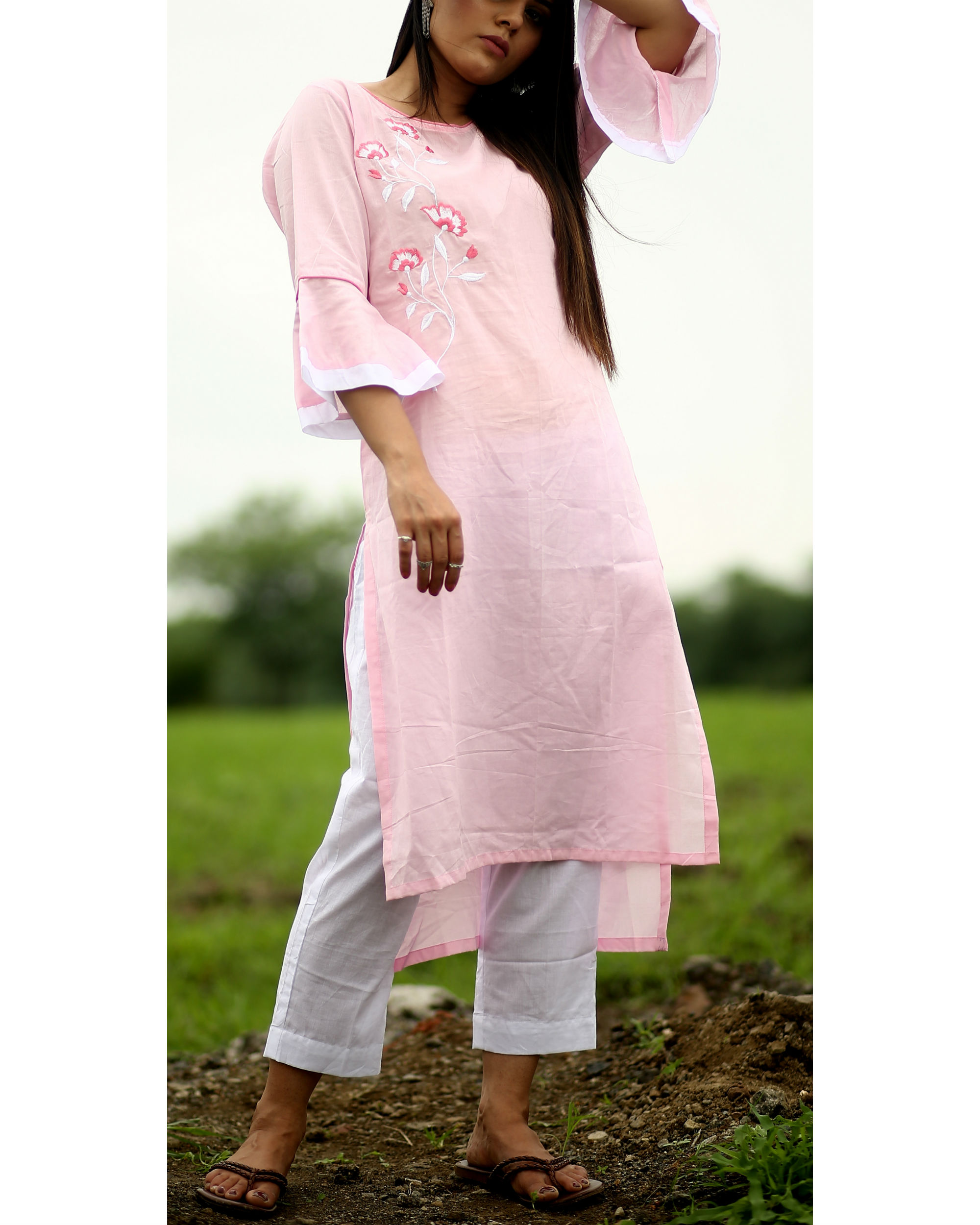 75dfcda20e0 Baby pink embroidered kurta by Crimson