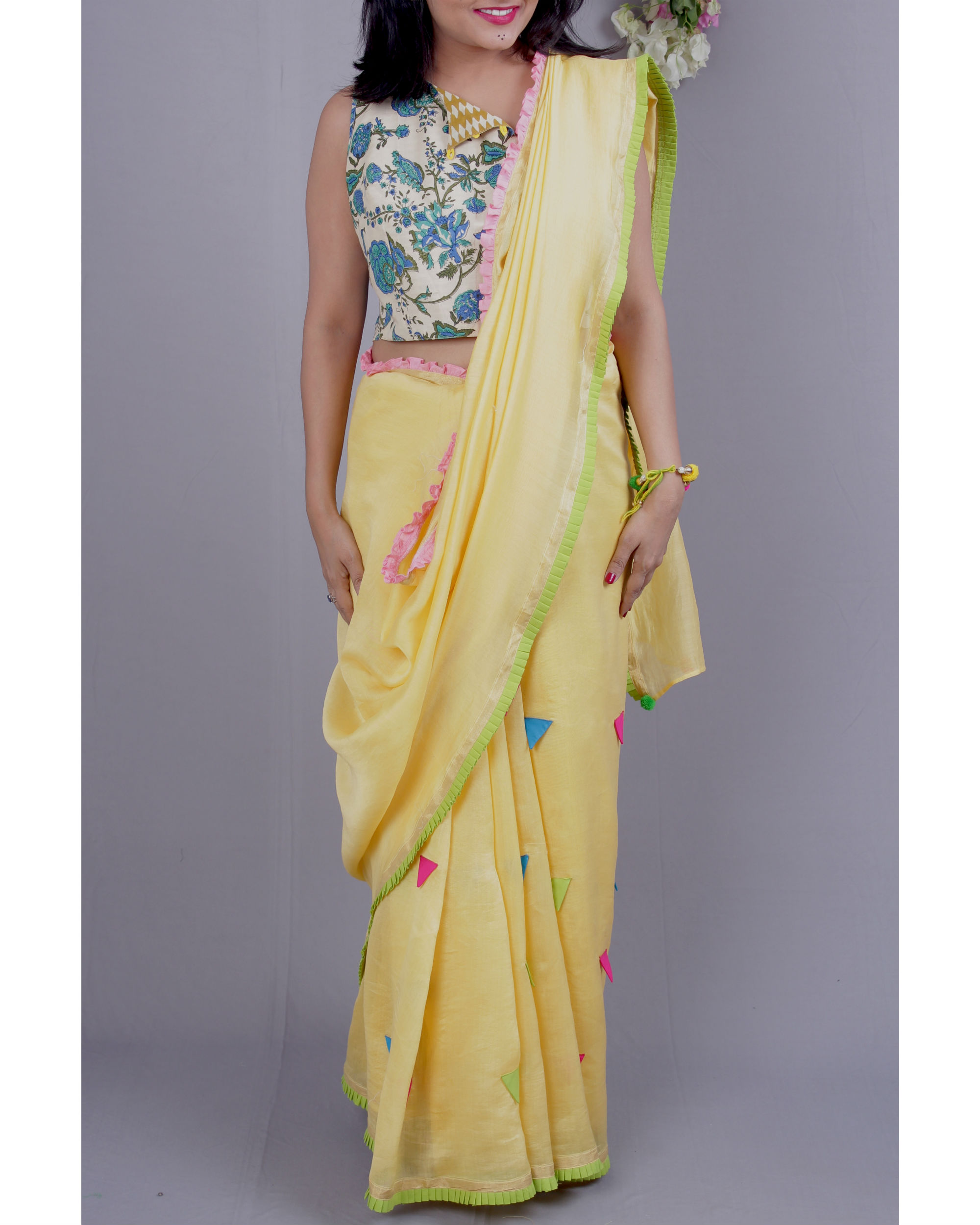 Chanderi sari with crop top