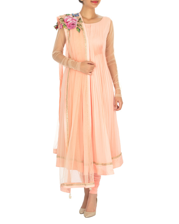 Peach pleated georgette kurta set
