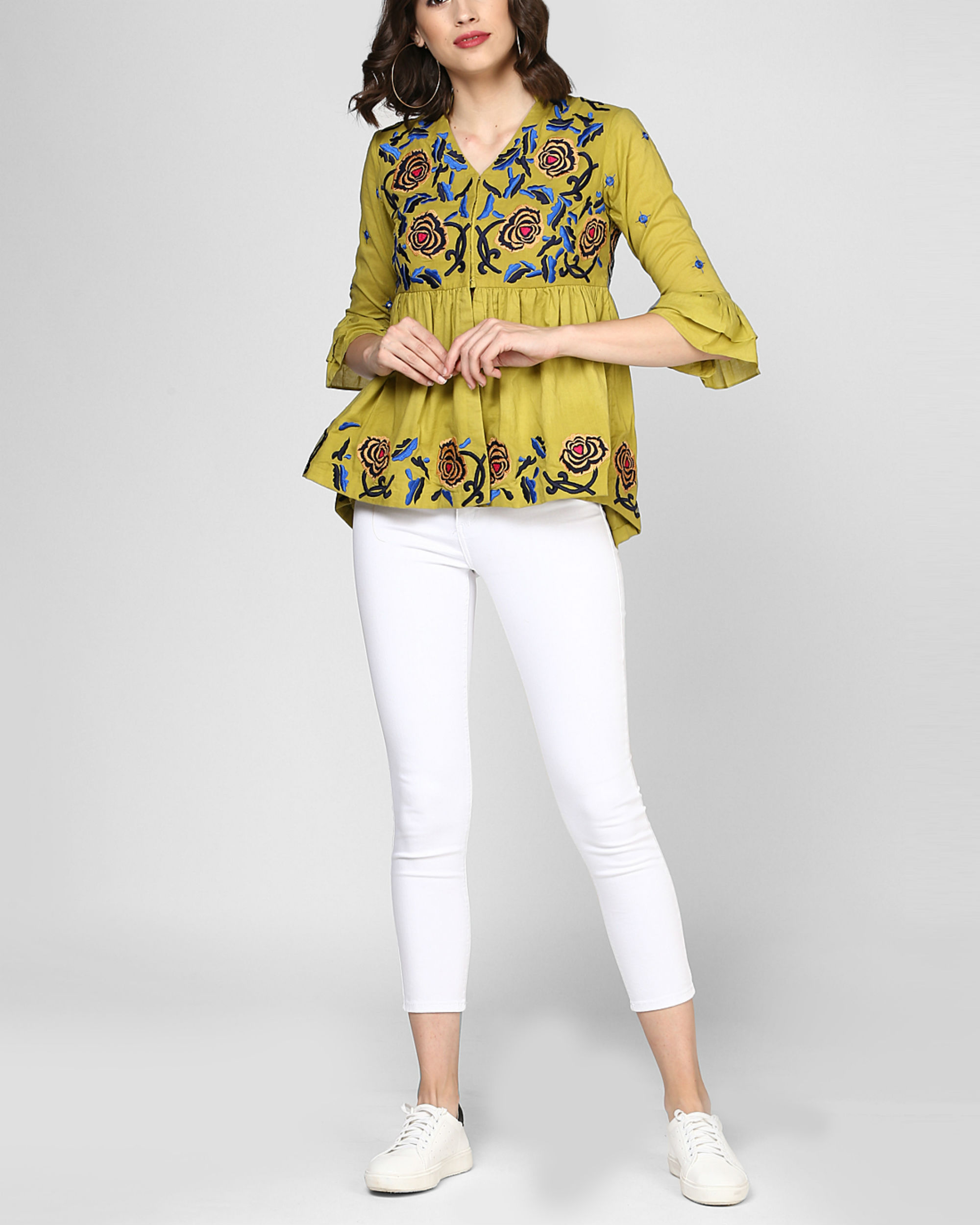 Olive green embroidered peplum top