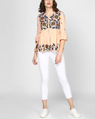 Peach Embroidered Peplum Top