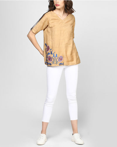 Beige Embroidered Top With Pocket