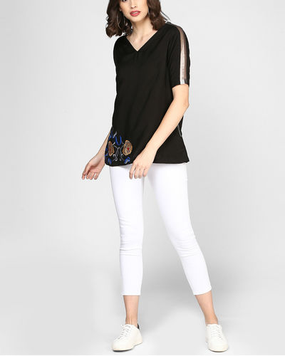 Black Embroidered Top With Pocket
