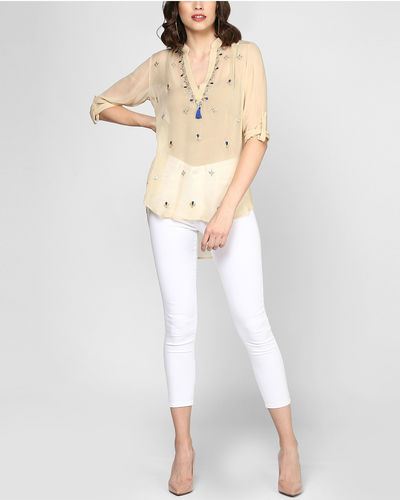 Beige Embroidered Sheer Top