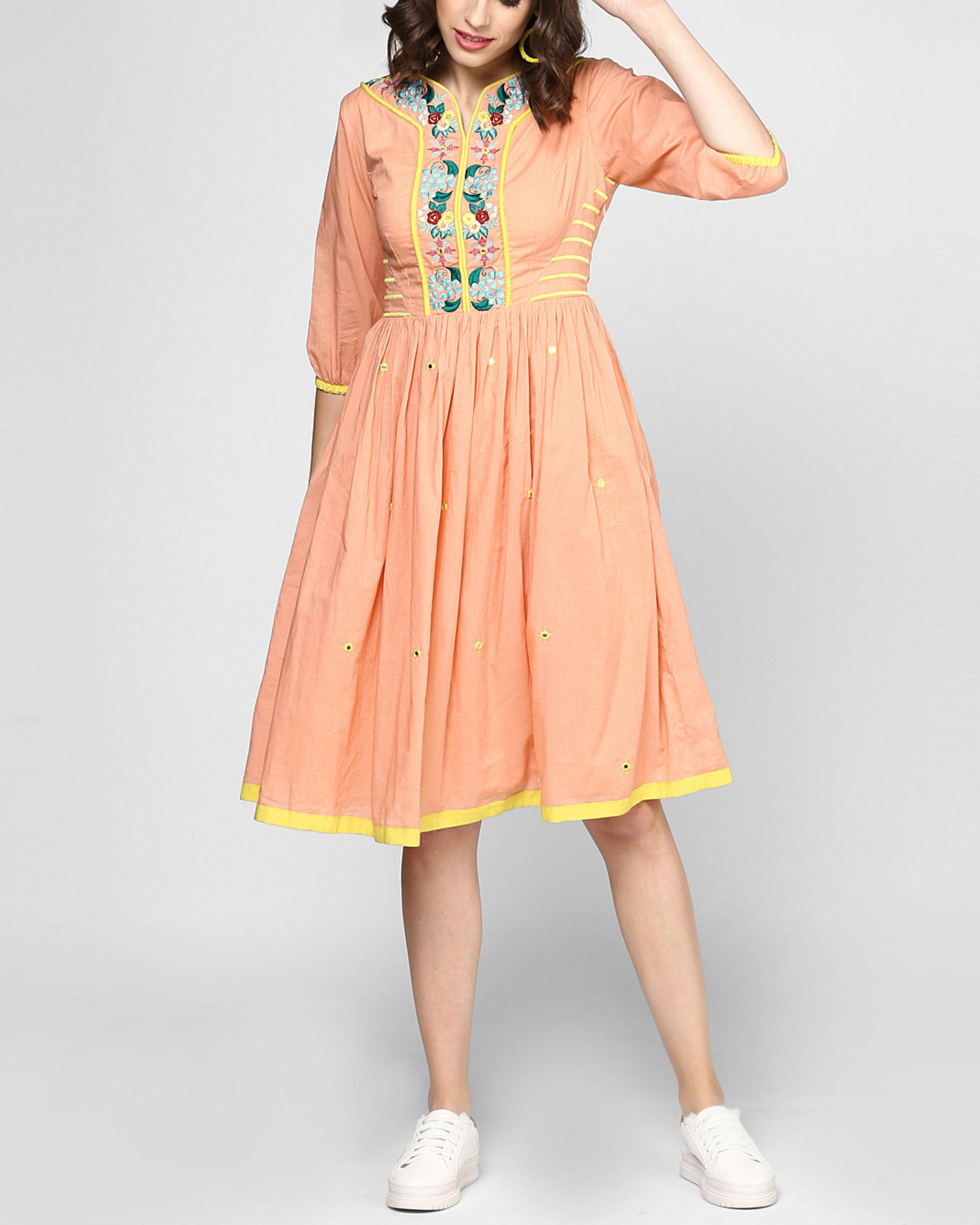 Peach embroidered midi dress