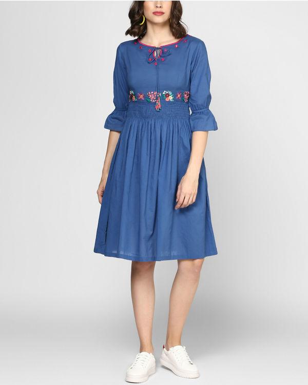 Midnight blue embroidered midi dress