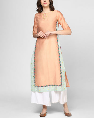 Peach Two Toned Embroidered Tunic