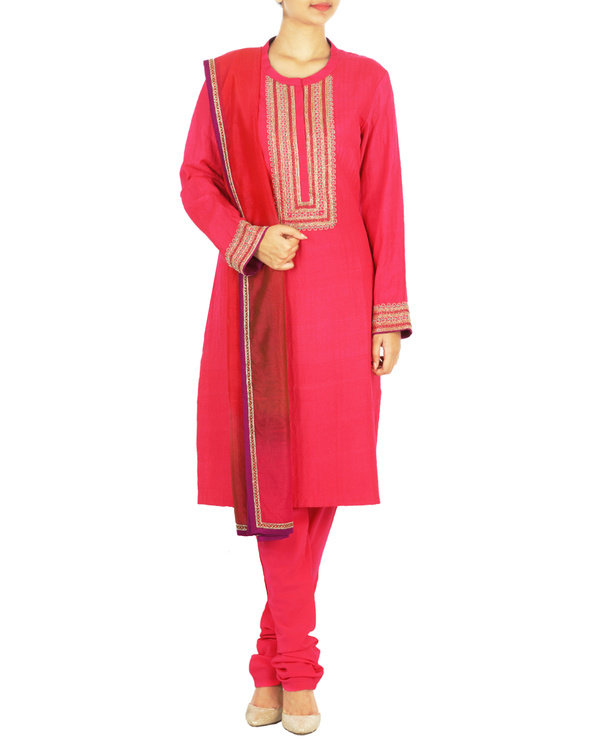 Guldasta pink tussar georgette quilted kurta set with chanderi dupatta