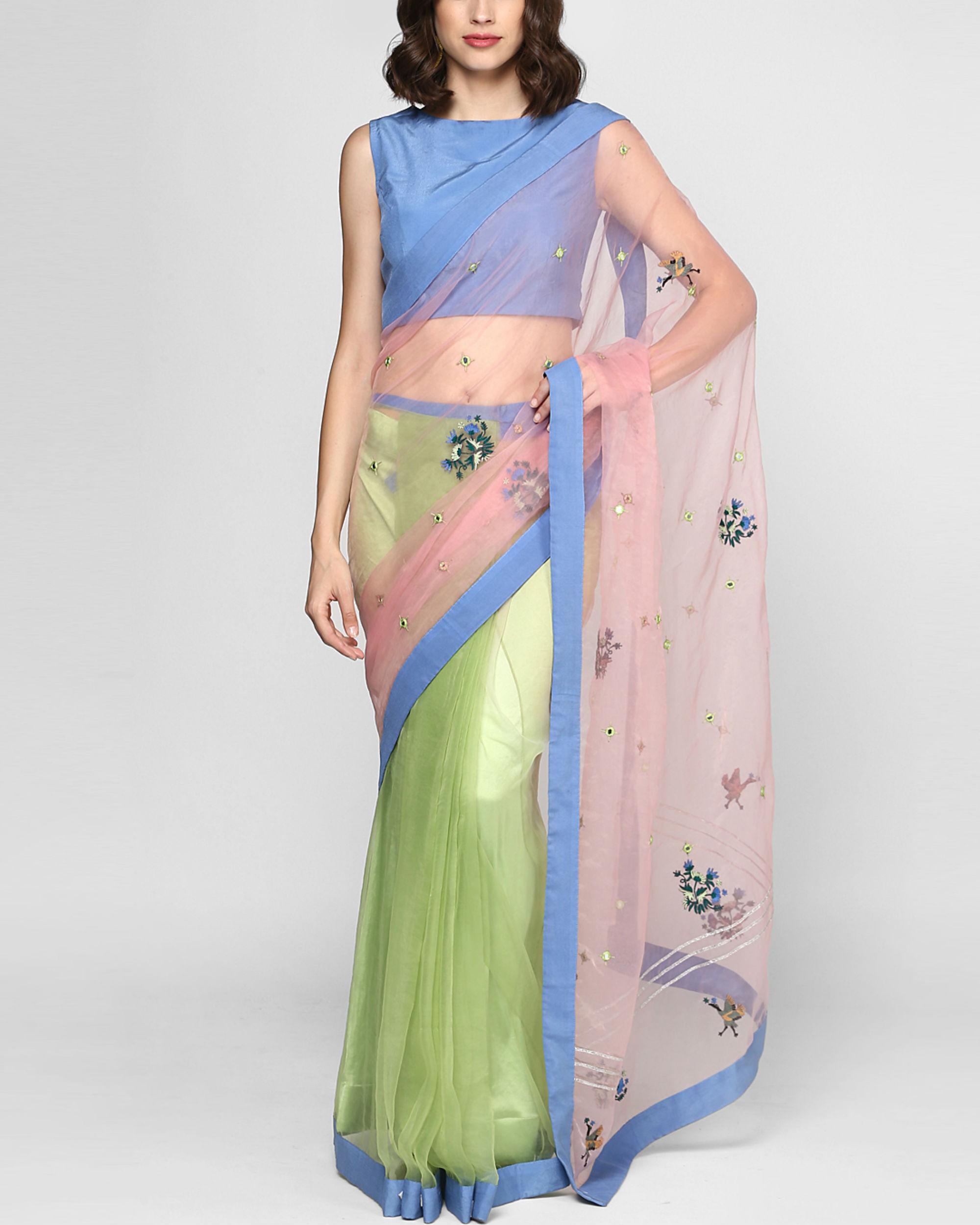 Sorbet stitched sari