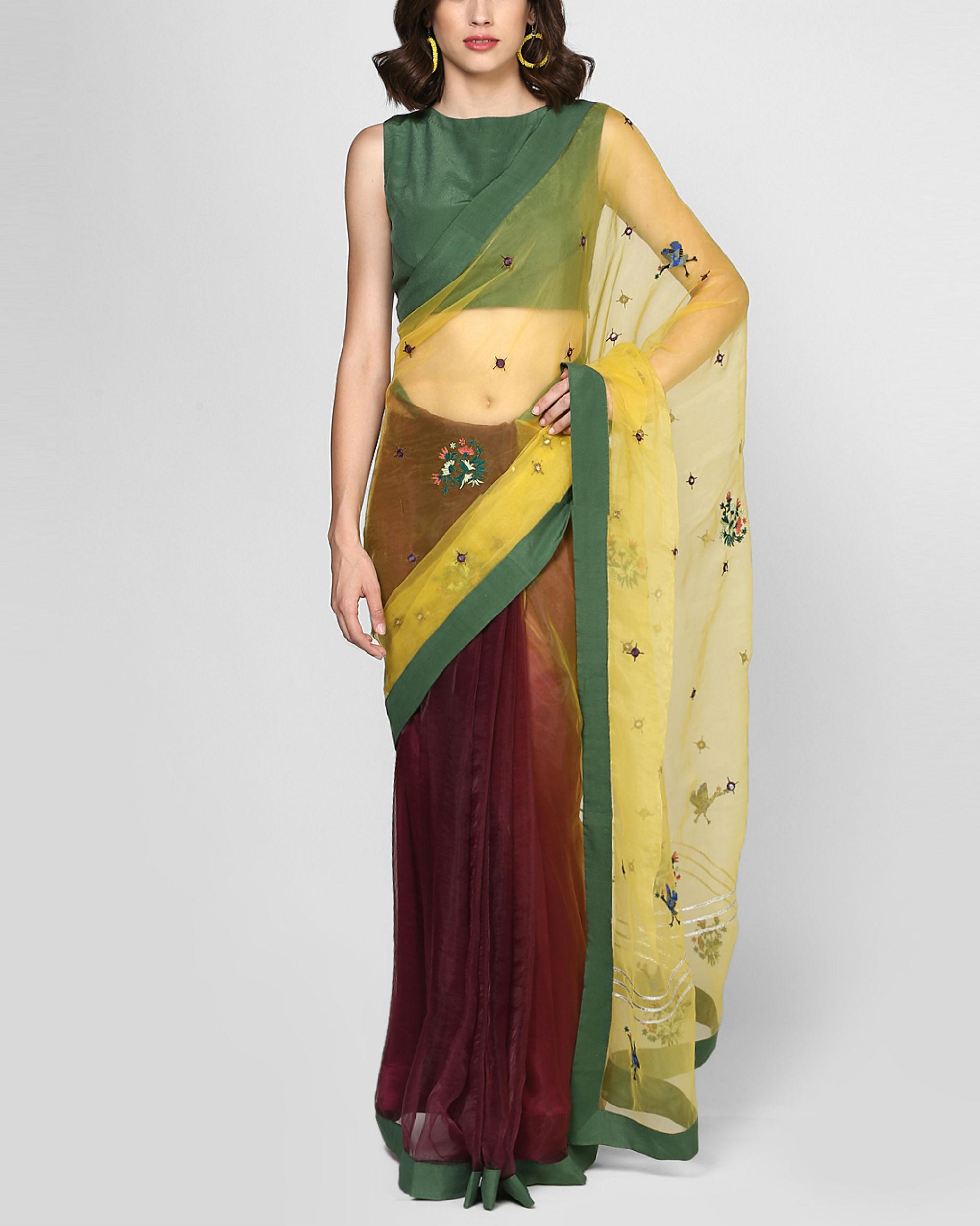 Marsala stitched sari
