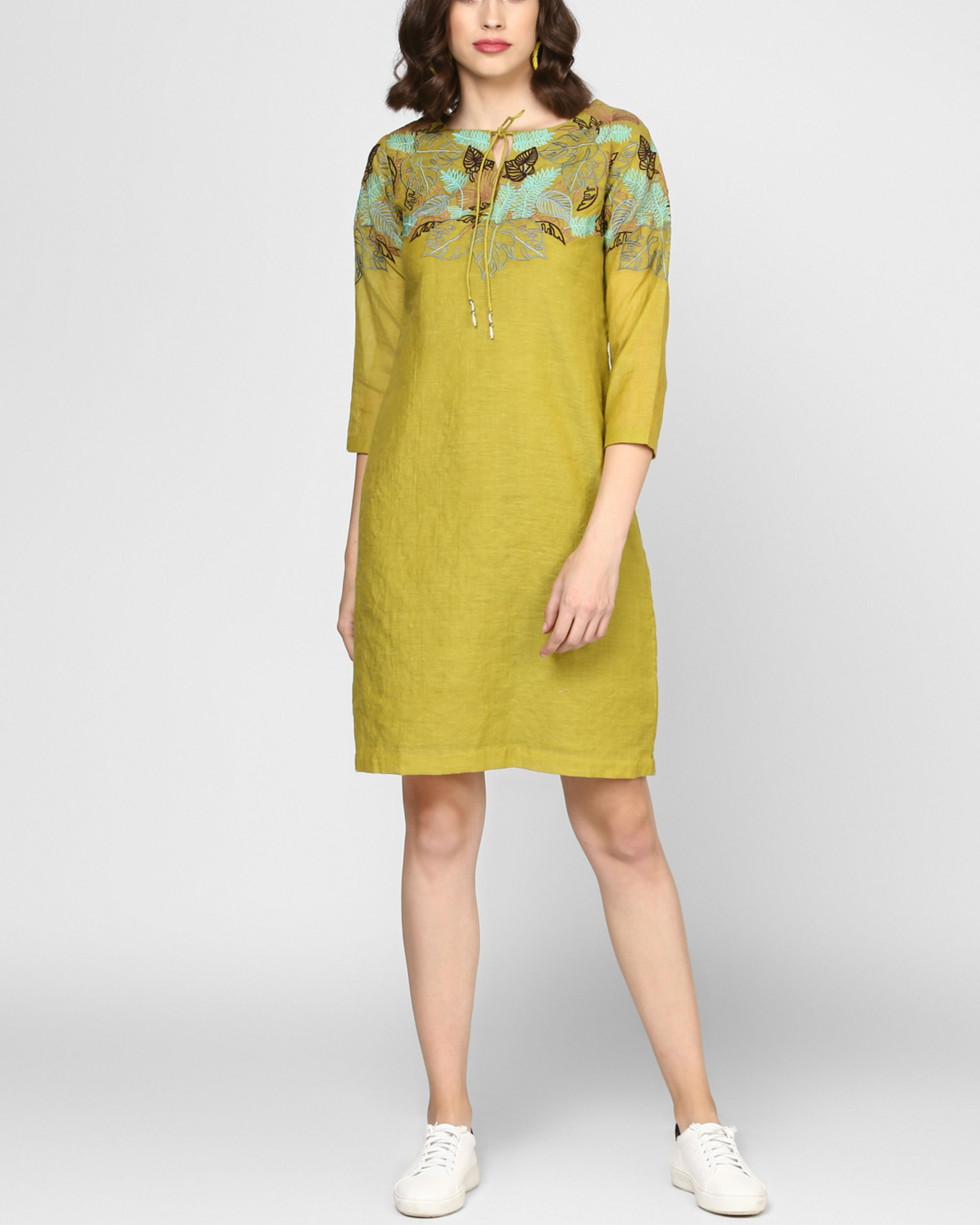 Olive green embroidered shift dress