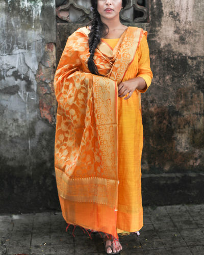 Yellow Chanderi Kurta With Pants And Chanderi Dupatta
