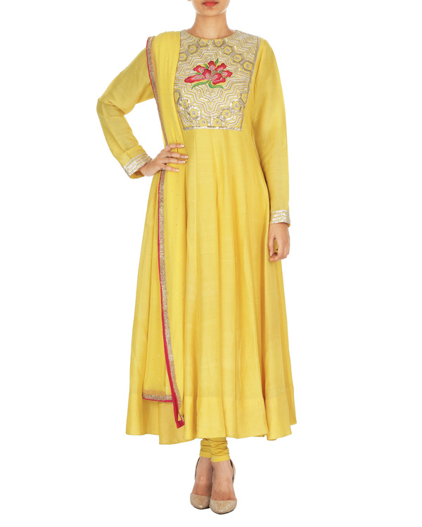 The flowering lattice yellow tussar georgette anarkali set