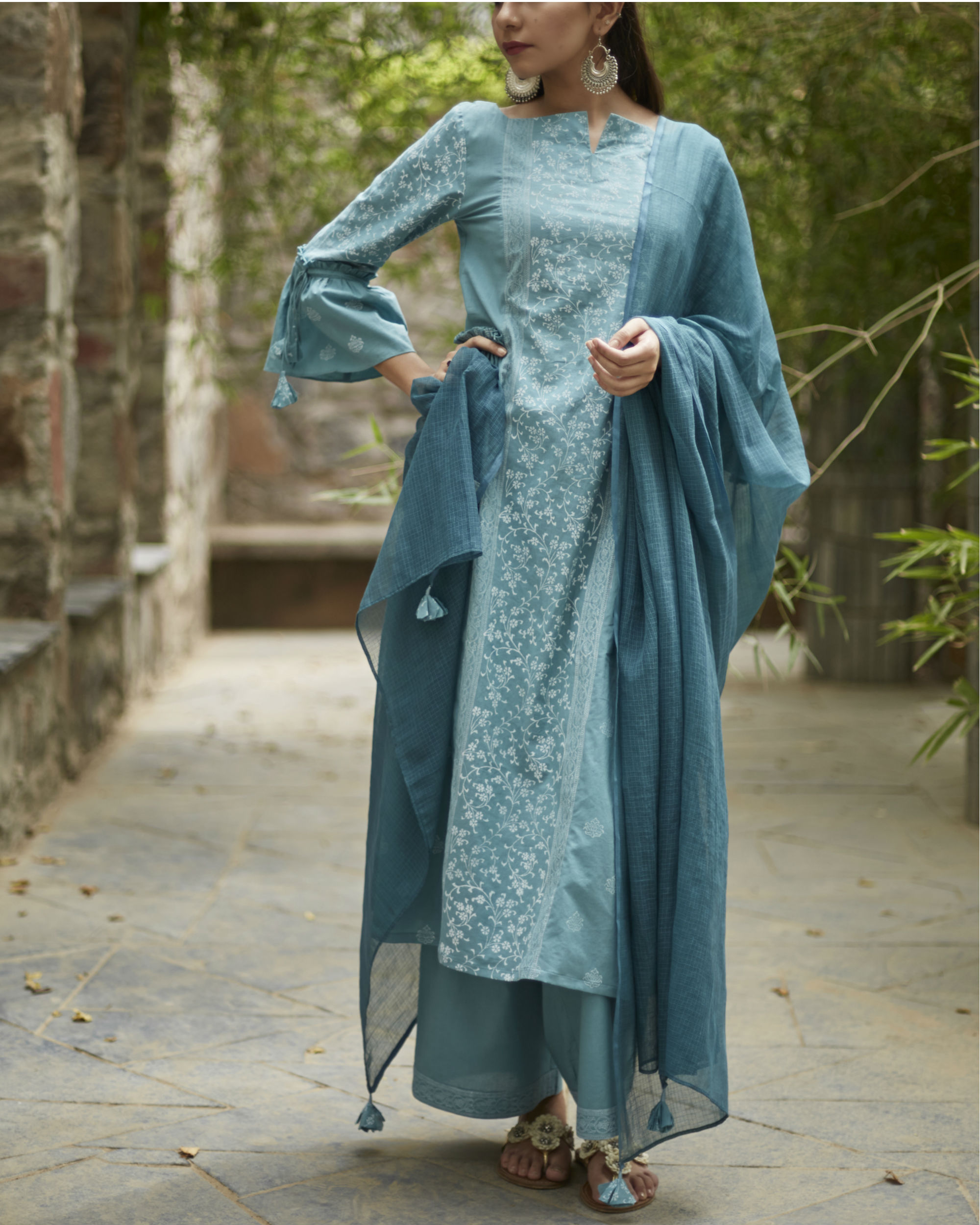 Aqua blue suchaya set with dupatta