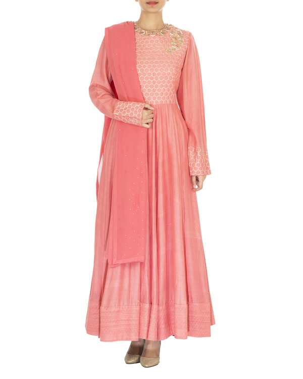 The flowering lattice coral quilted tussar georgette anarkali set
