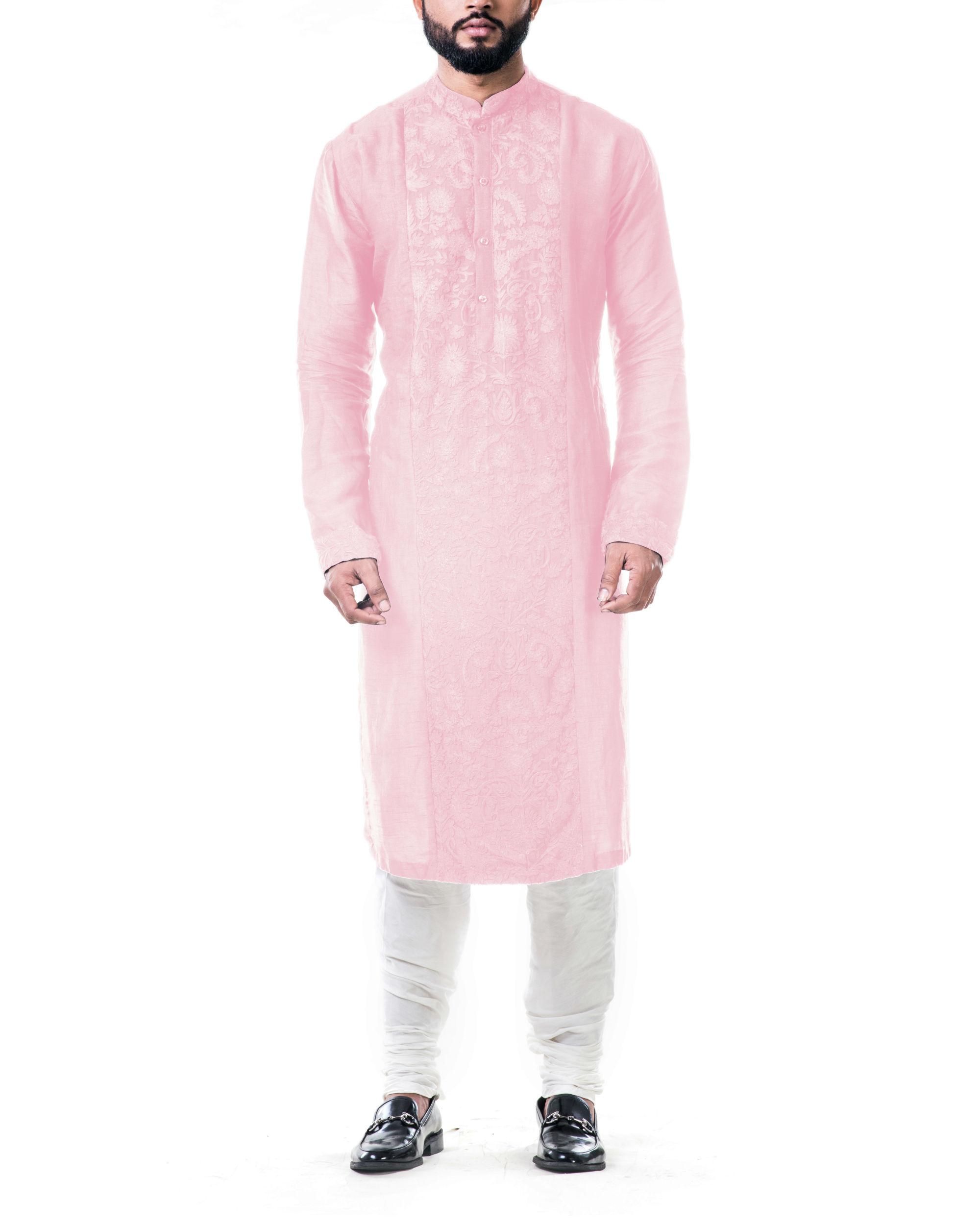 Pink ari embroidery silk kurta set