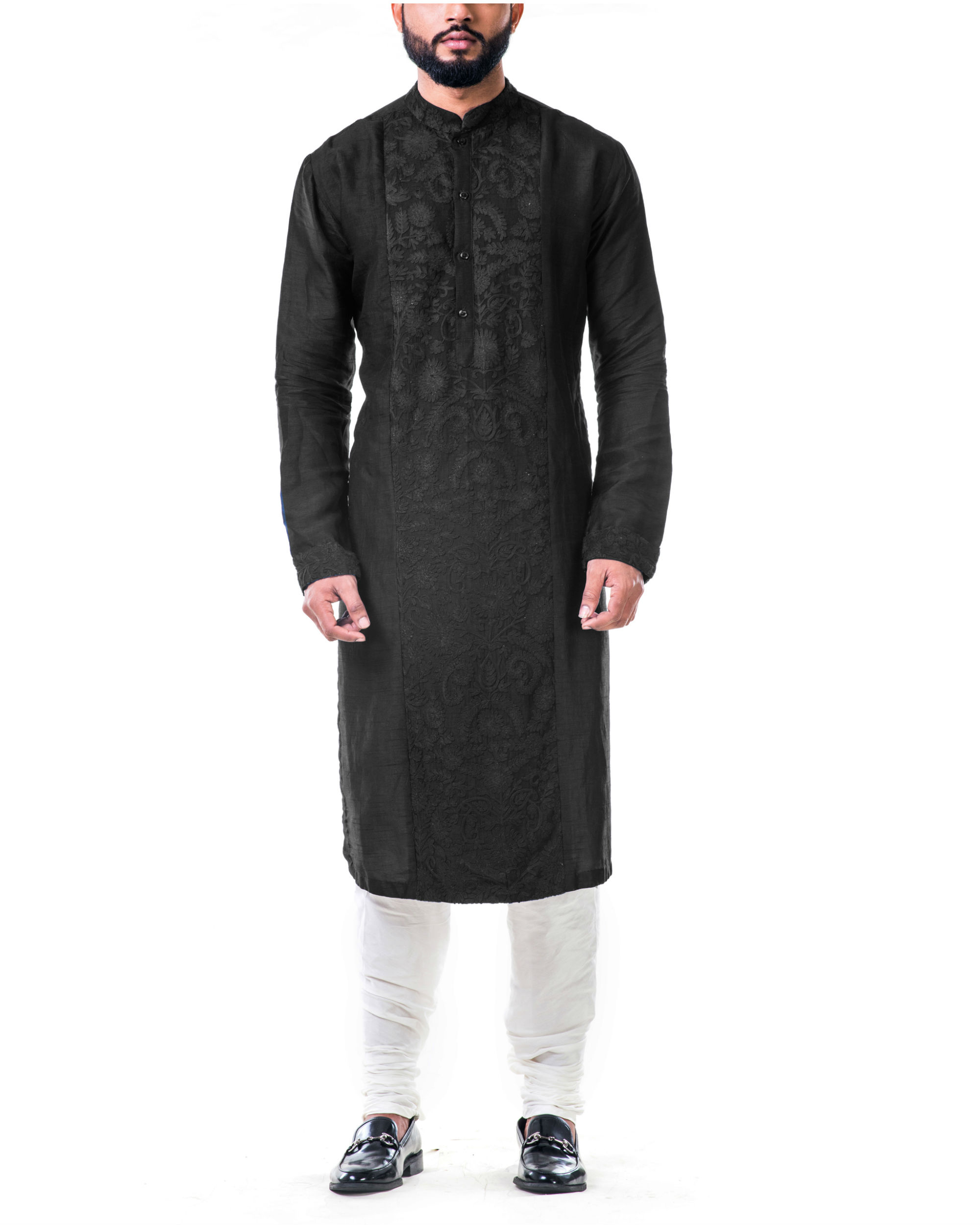 Black ari embroidery silk kurta set