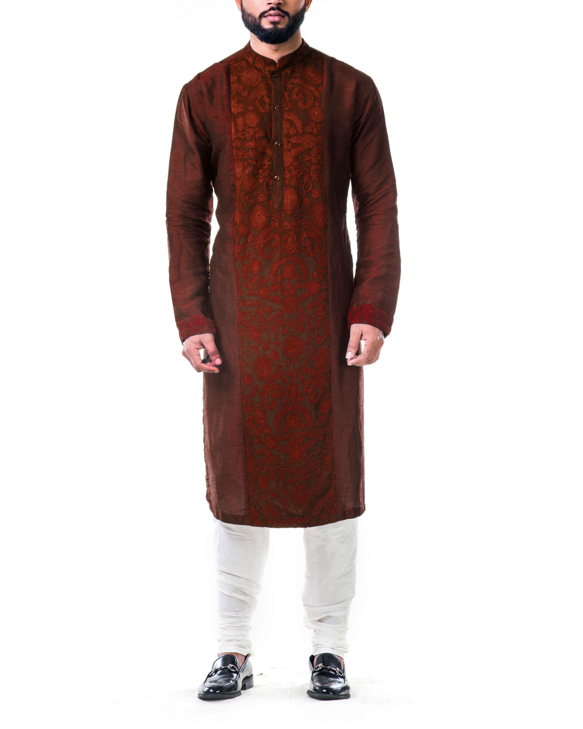 Maroon ari embroidery silk kurta set
