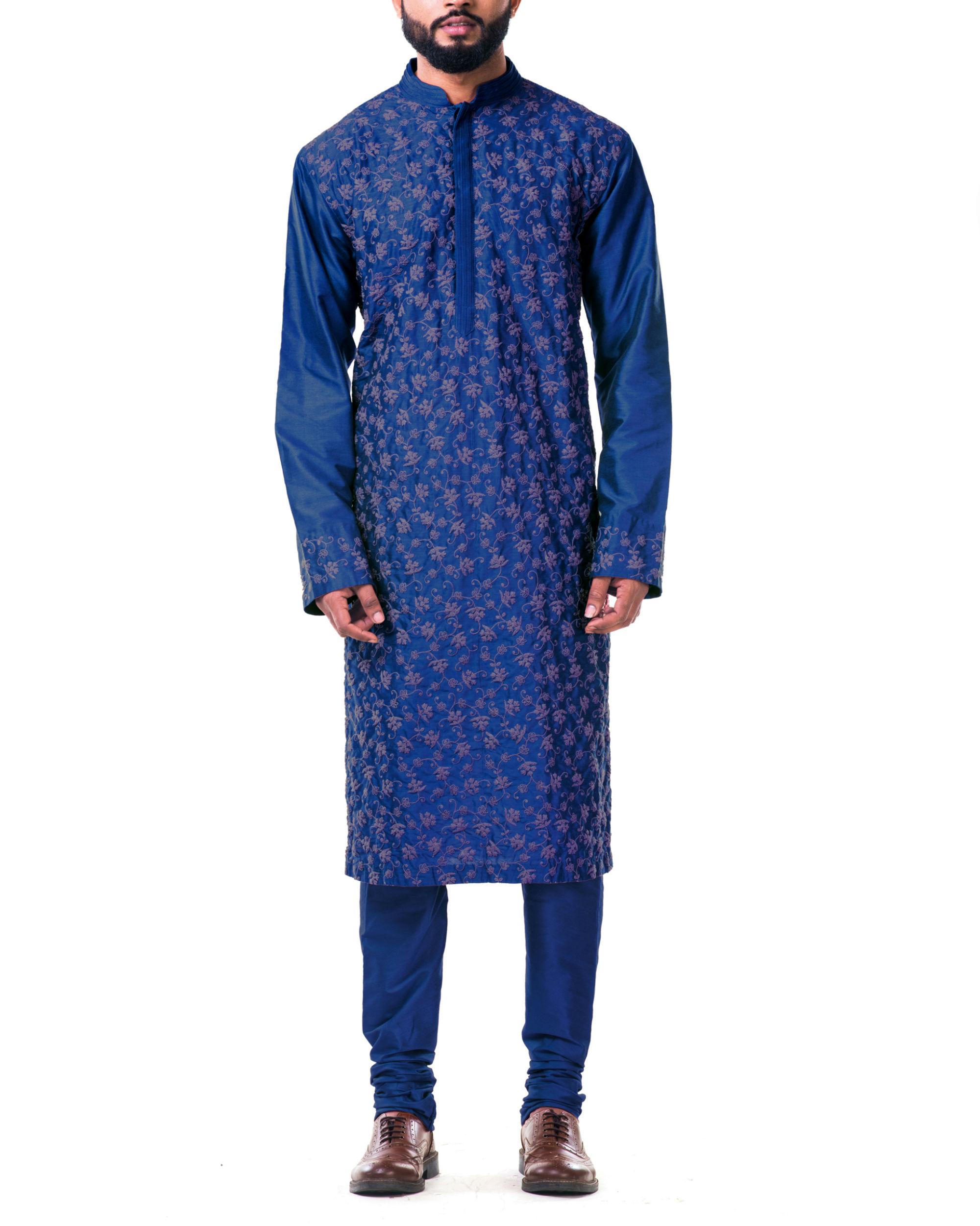 Blue  katan silk pin tuck cord embroidered kurta set