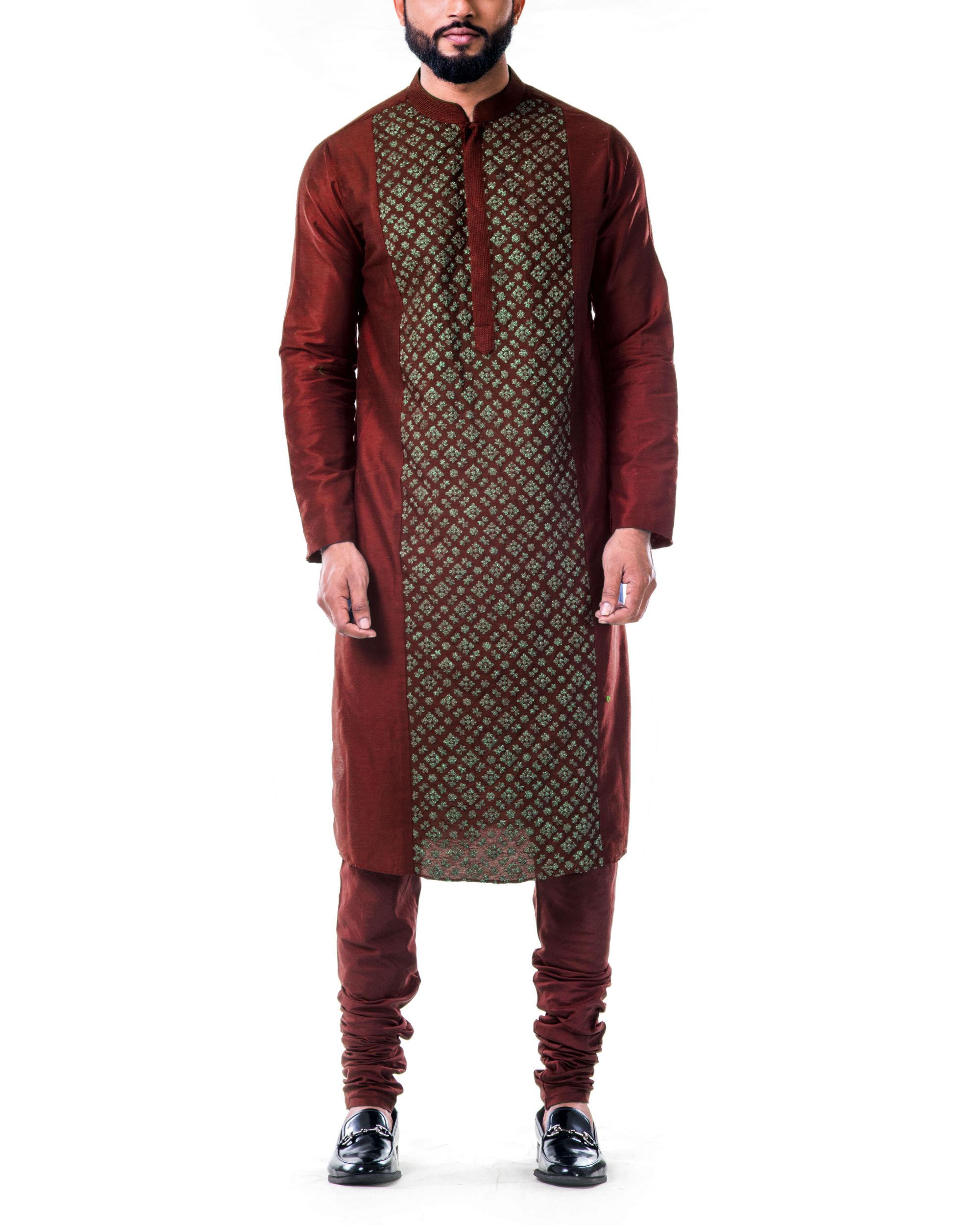Maroon gold embroidery silk kurta set