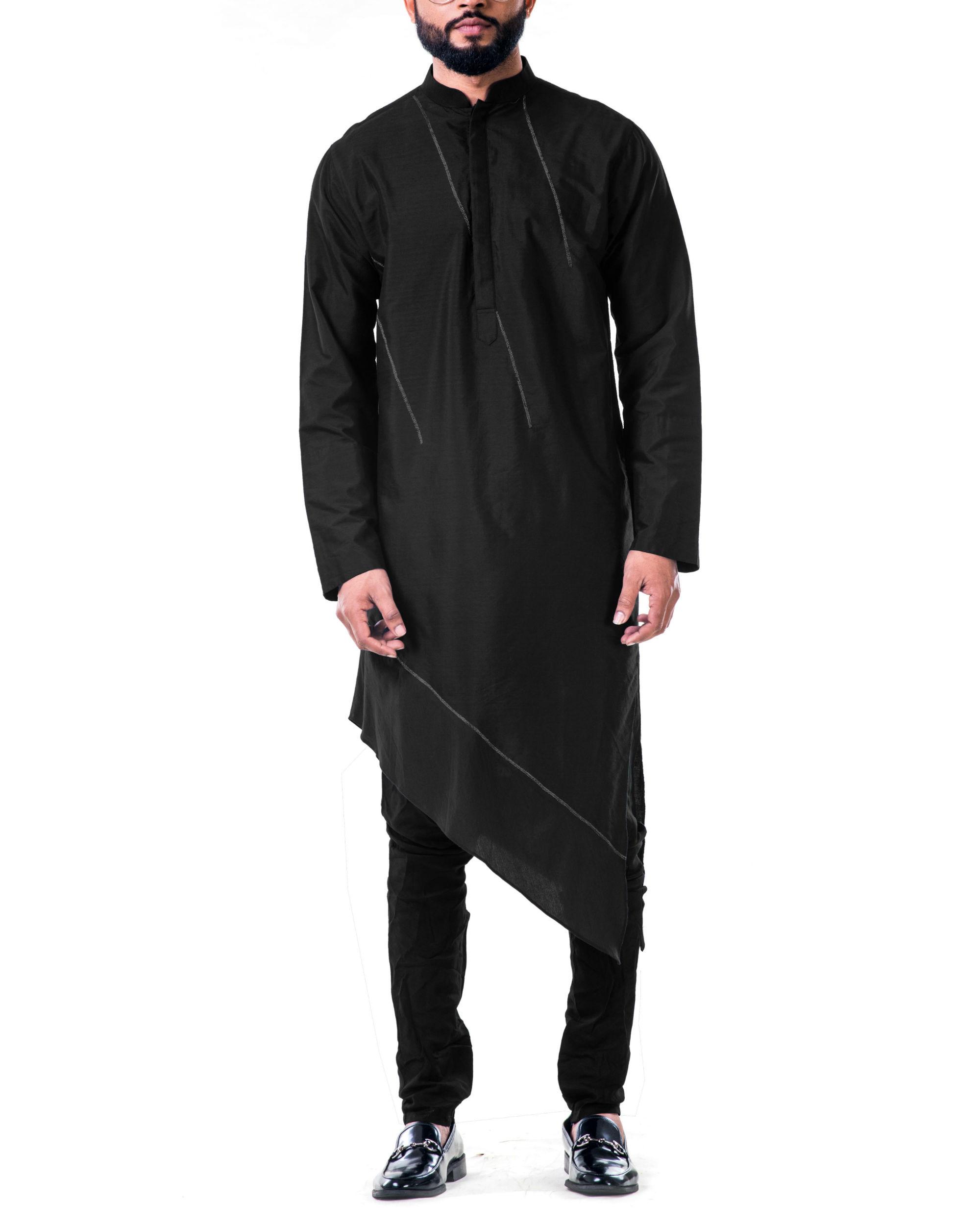 Black  asymmetrical hemline embroidered kurta set