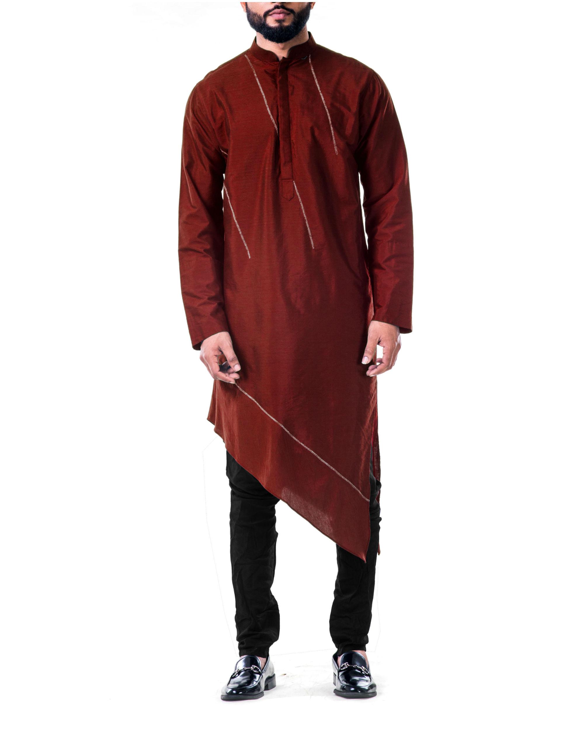 Maroon  asymmetrical hemline embroidered kurta set