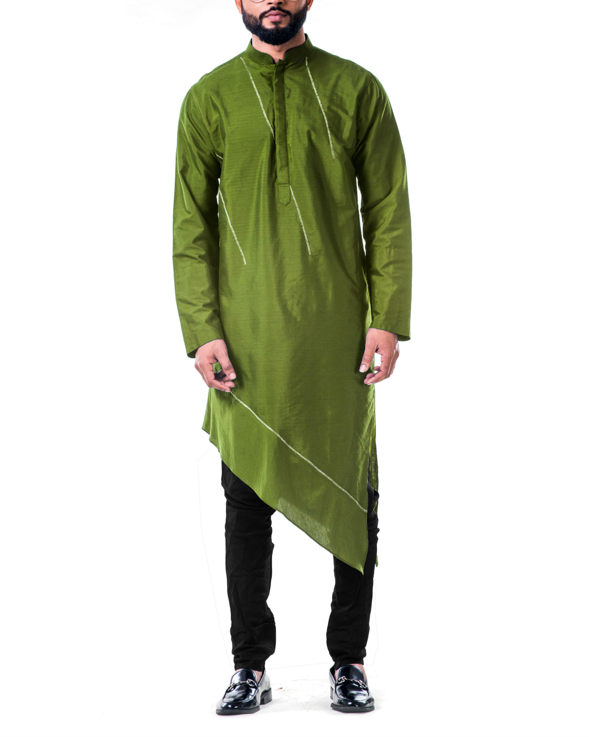 Green  asymmetrical hemline embroidered kurta set