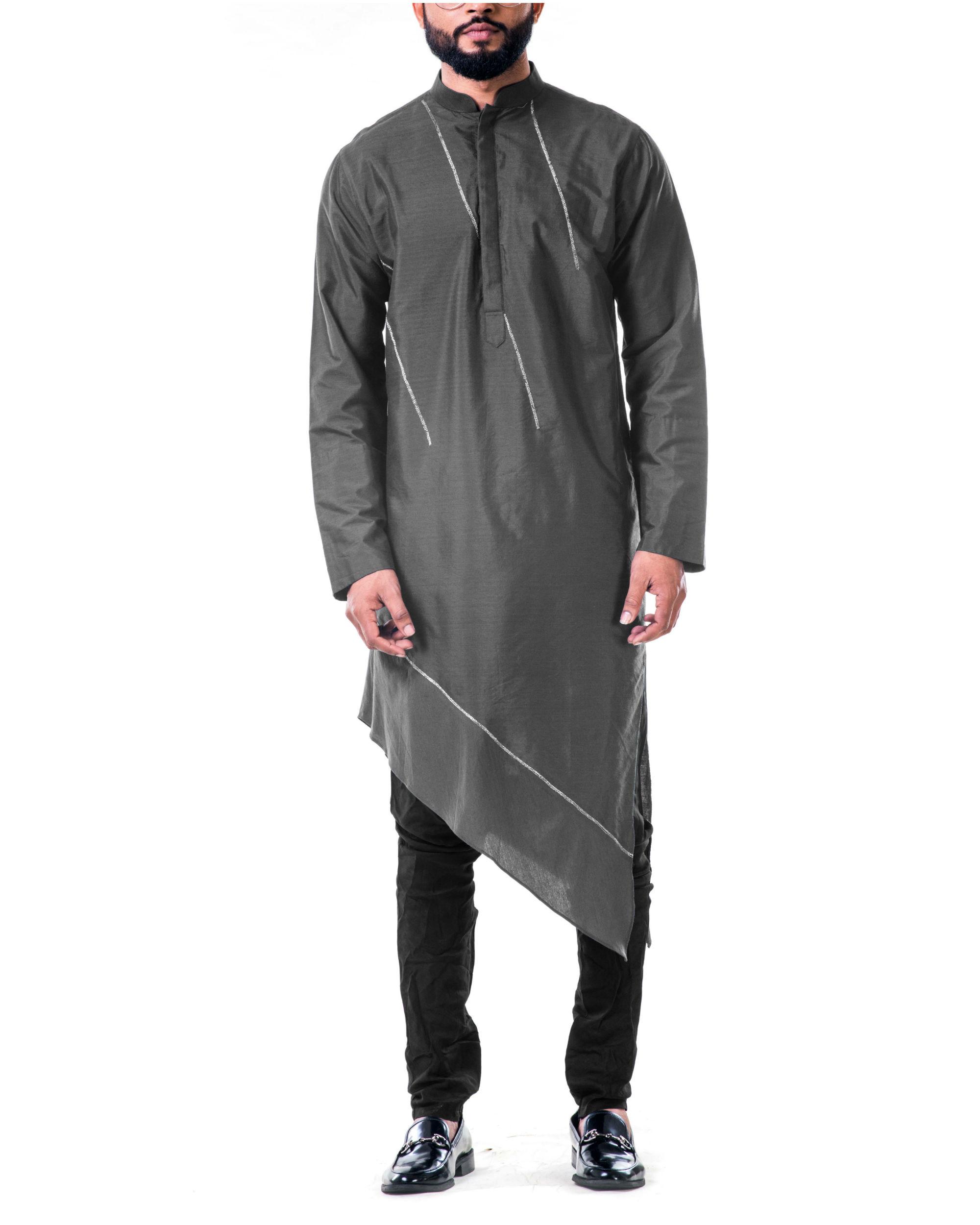 Grey  asymmetrical hemline embroidered kurta set