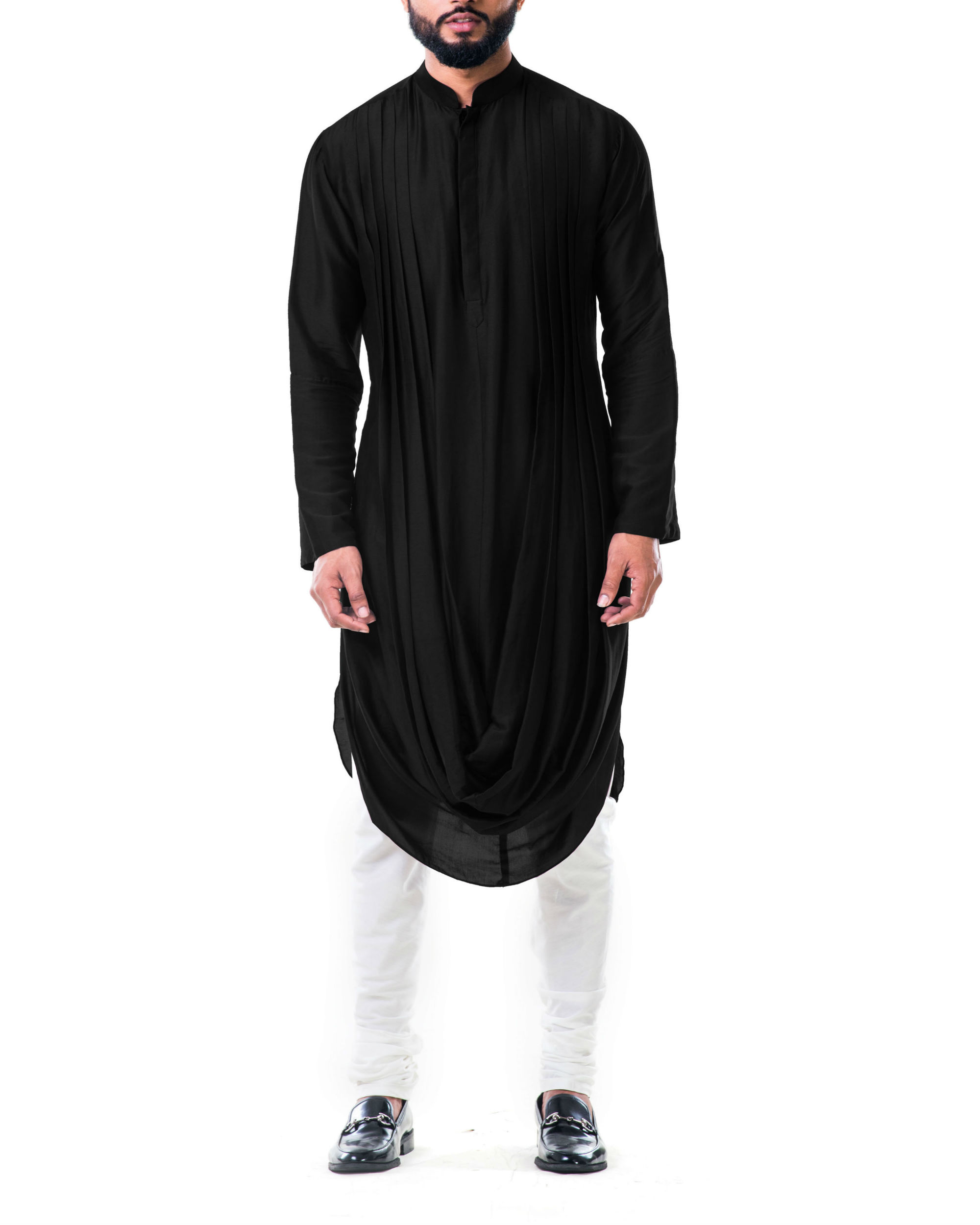 Black double cowl kurta set