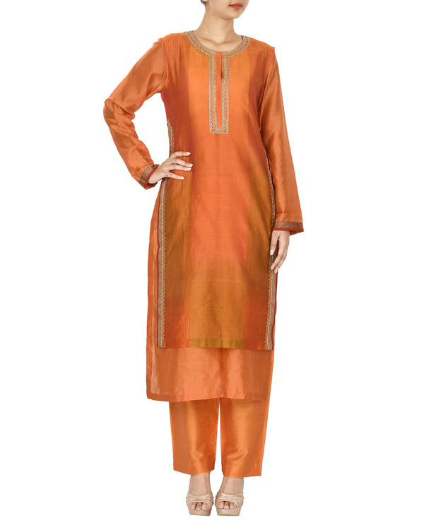 Guldasta orange chanderi layered kurta set