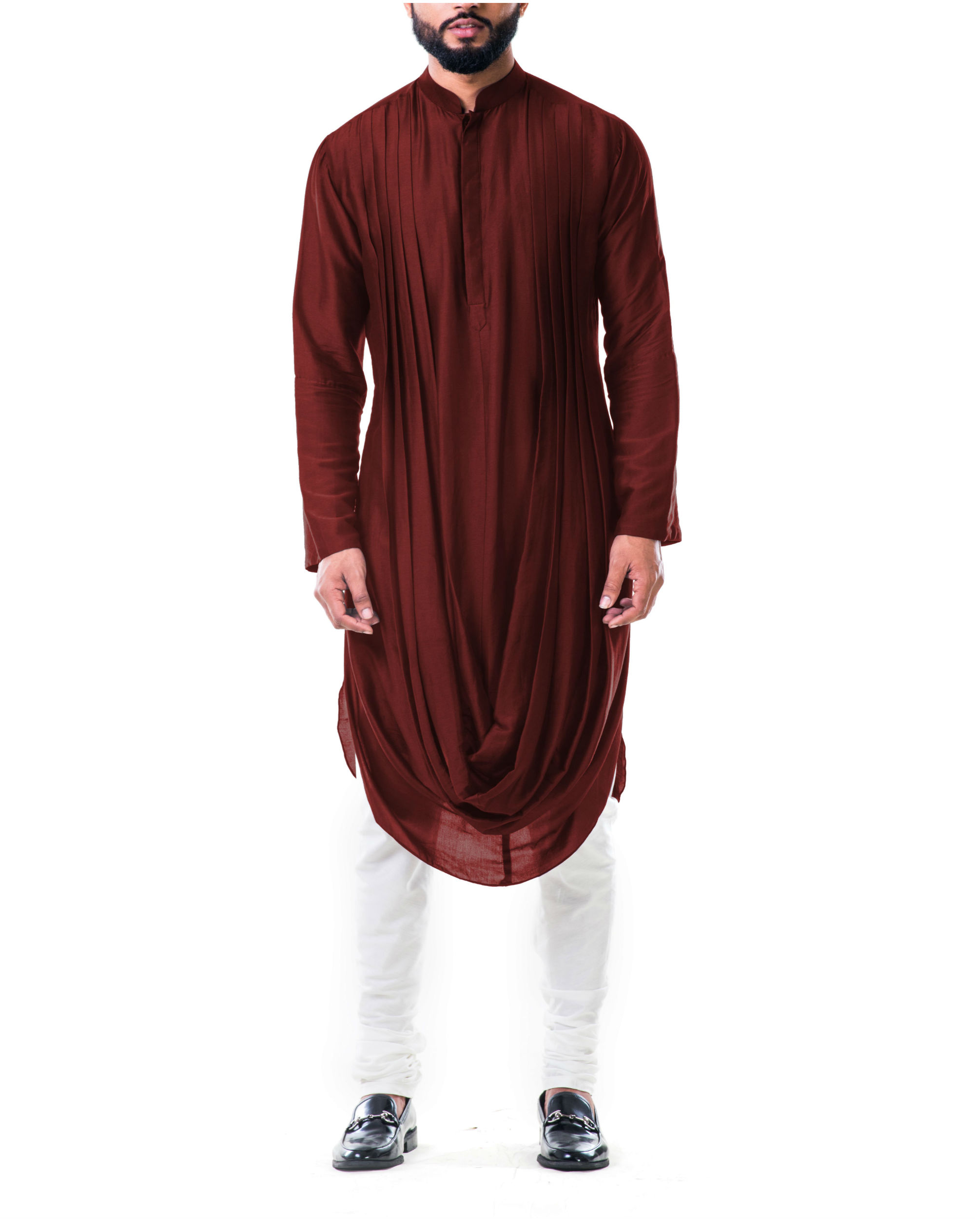 Maroon Double Cowl Kurta Set