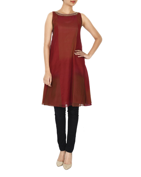 Guldasta deep red tonal chanderi a-line tunic