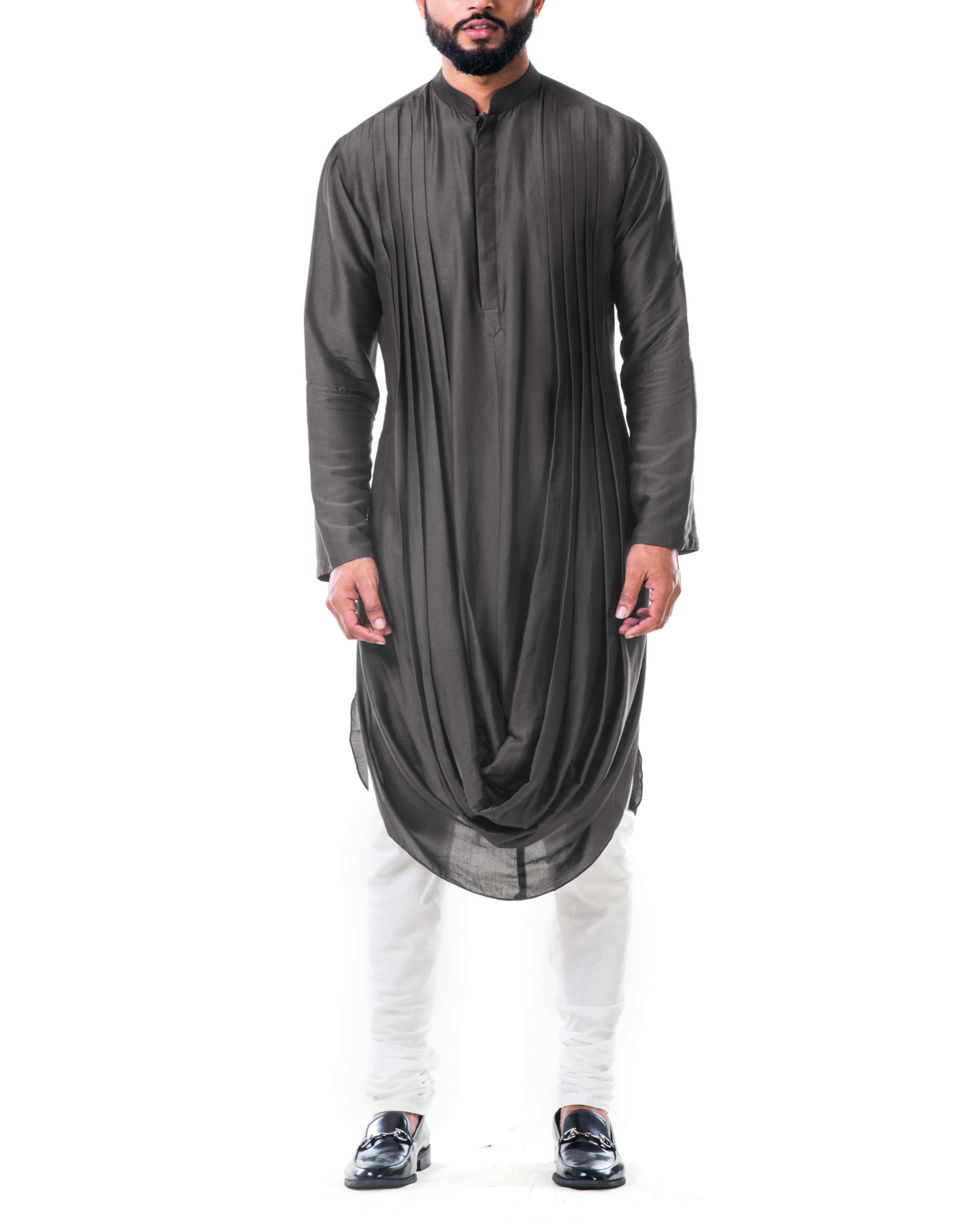 Grey double cowl kurta set