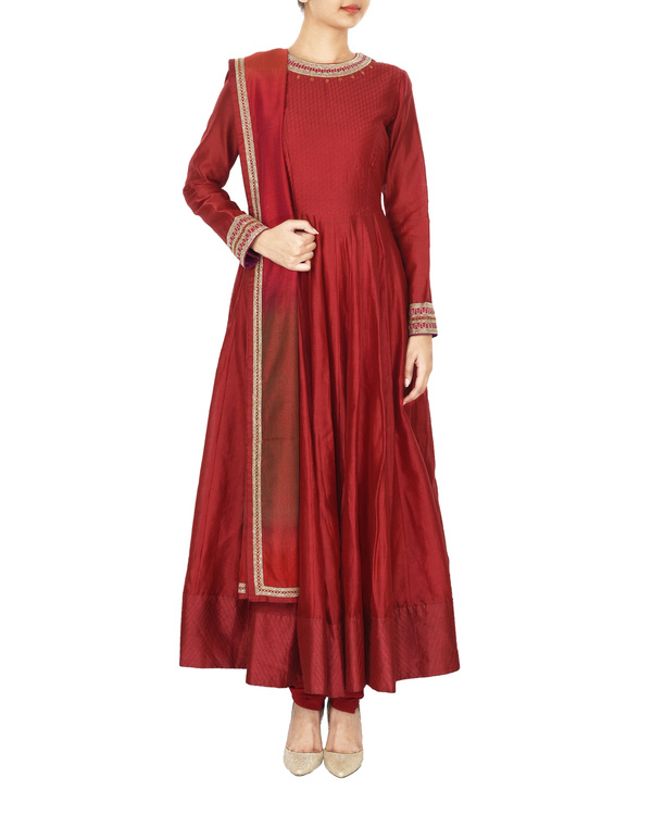 Guldasta deep red chanderi anarkali set