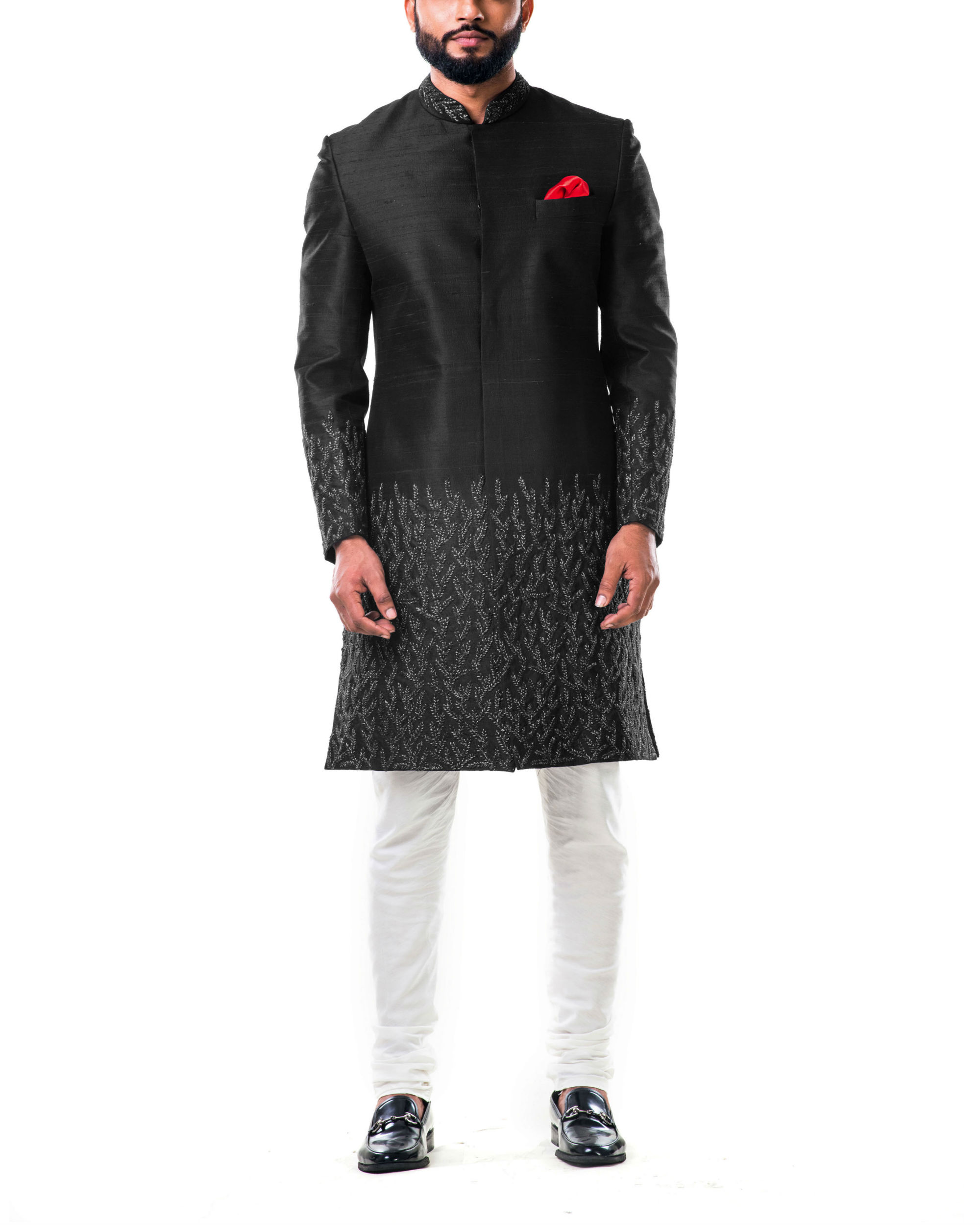 Black hand embroidered thread work sherwani set