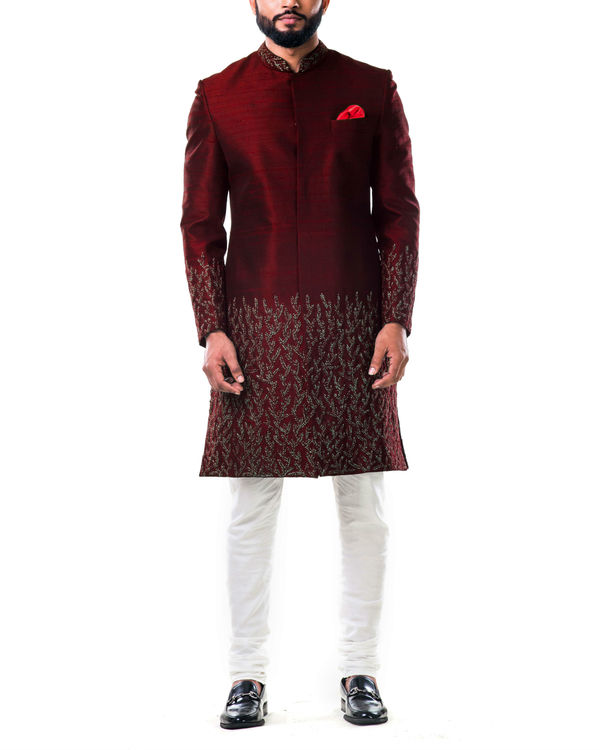 Maroon hand embroidered thread work sherwani set