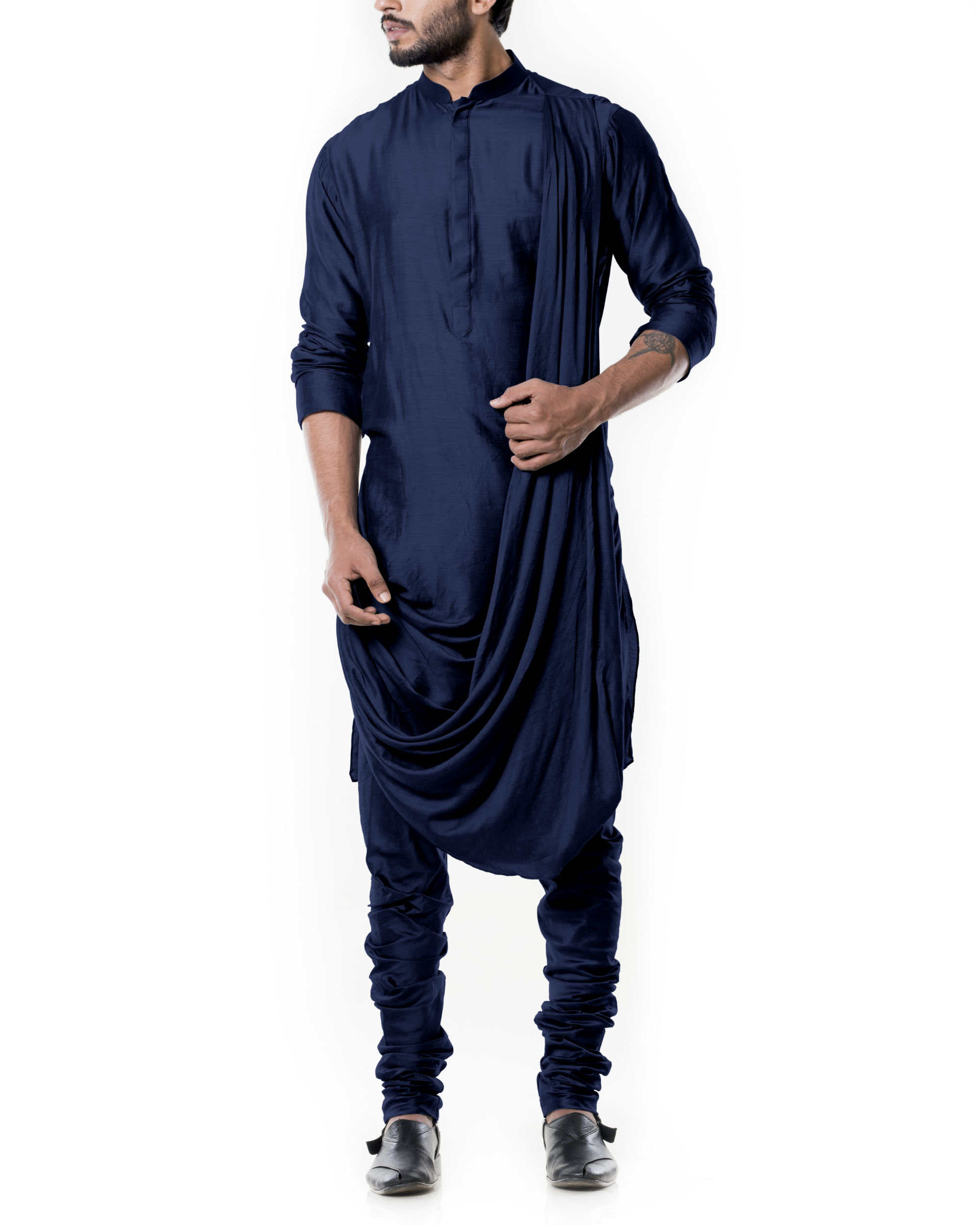 Navy blue cowl kurta set