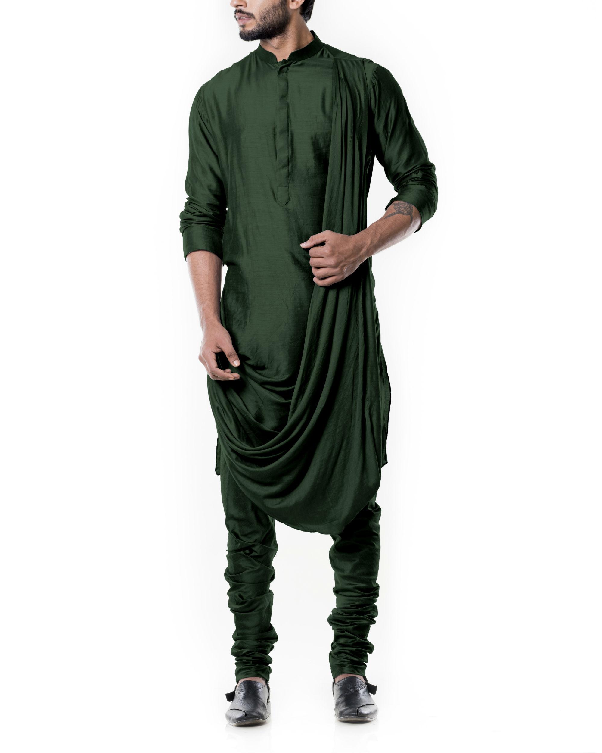 Forest green cowl kurta set