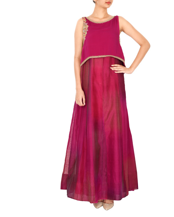 Magenta crop top with tonal purple a line gown