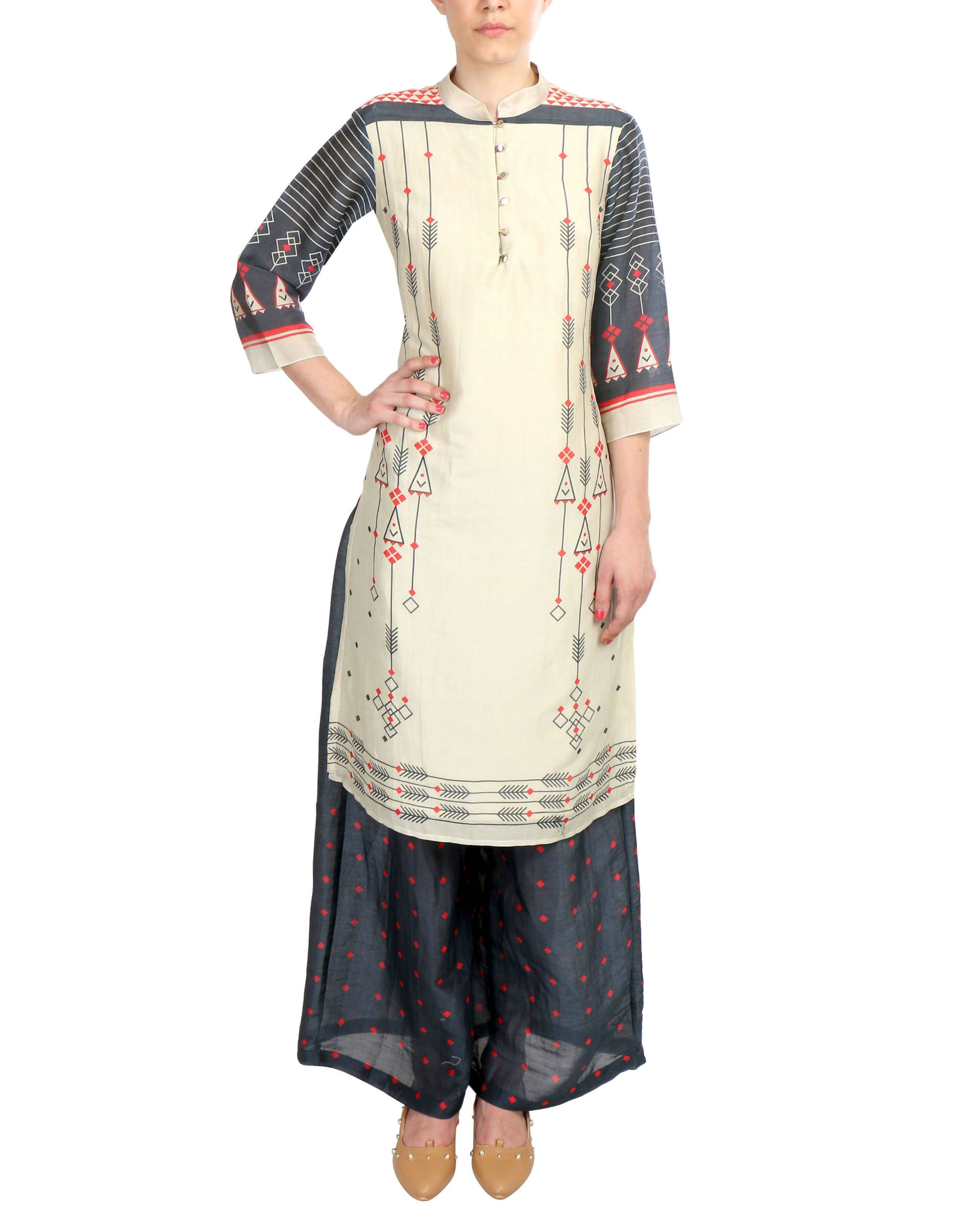 Beige And Black Chanderi Set