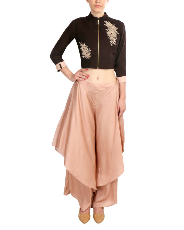 Black Embroidered Jacket with Flap Trouser