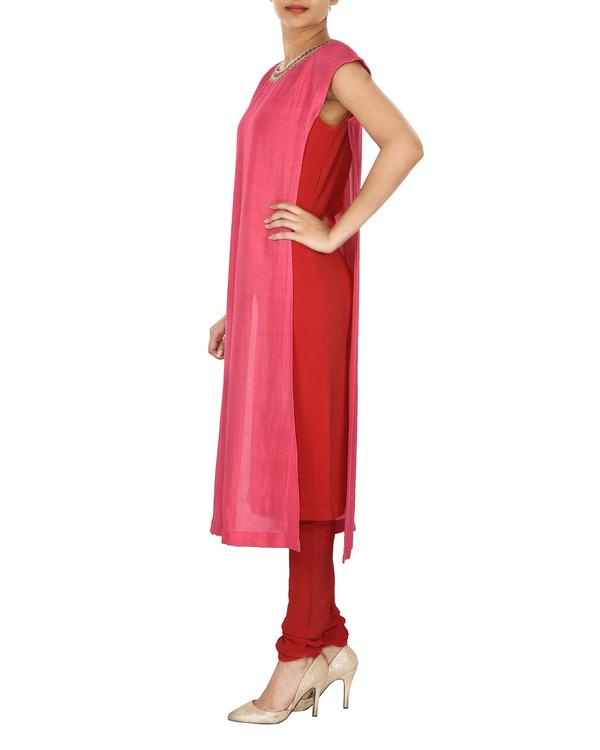 red & pink tussar georgette overlap kurta set