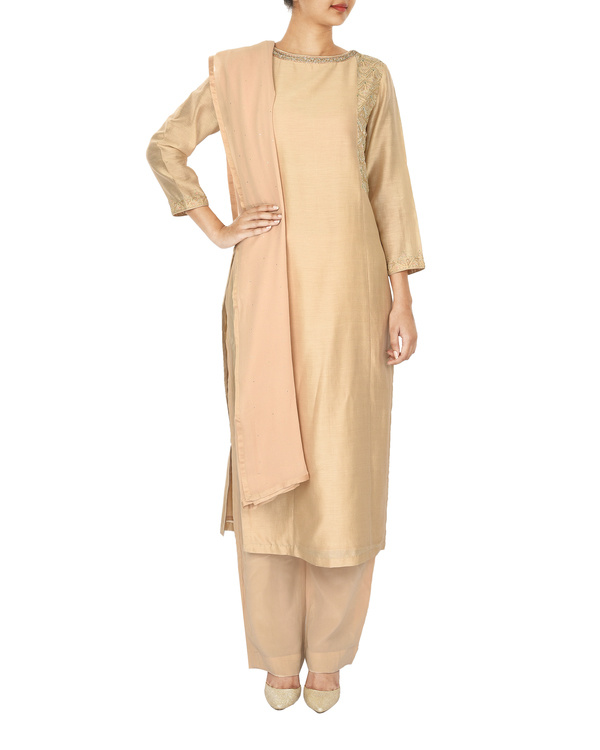 Trikon nude chanderi  straight kurta set