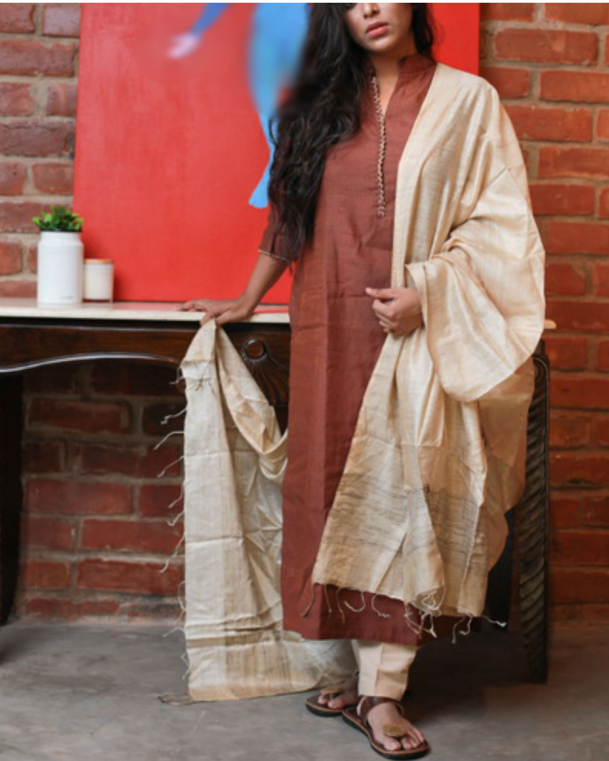 Brown kurta with Off White pants and dupatta