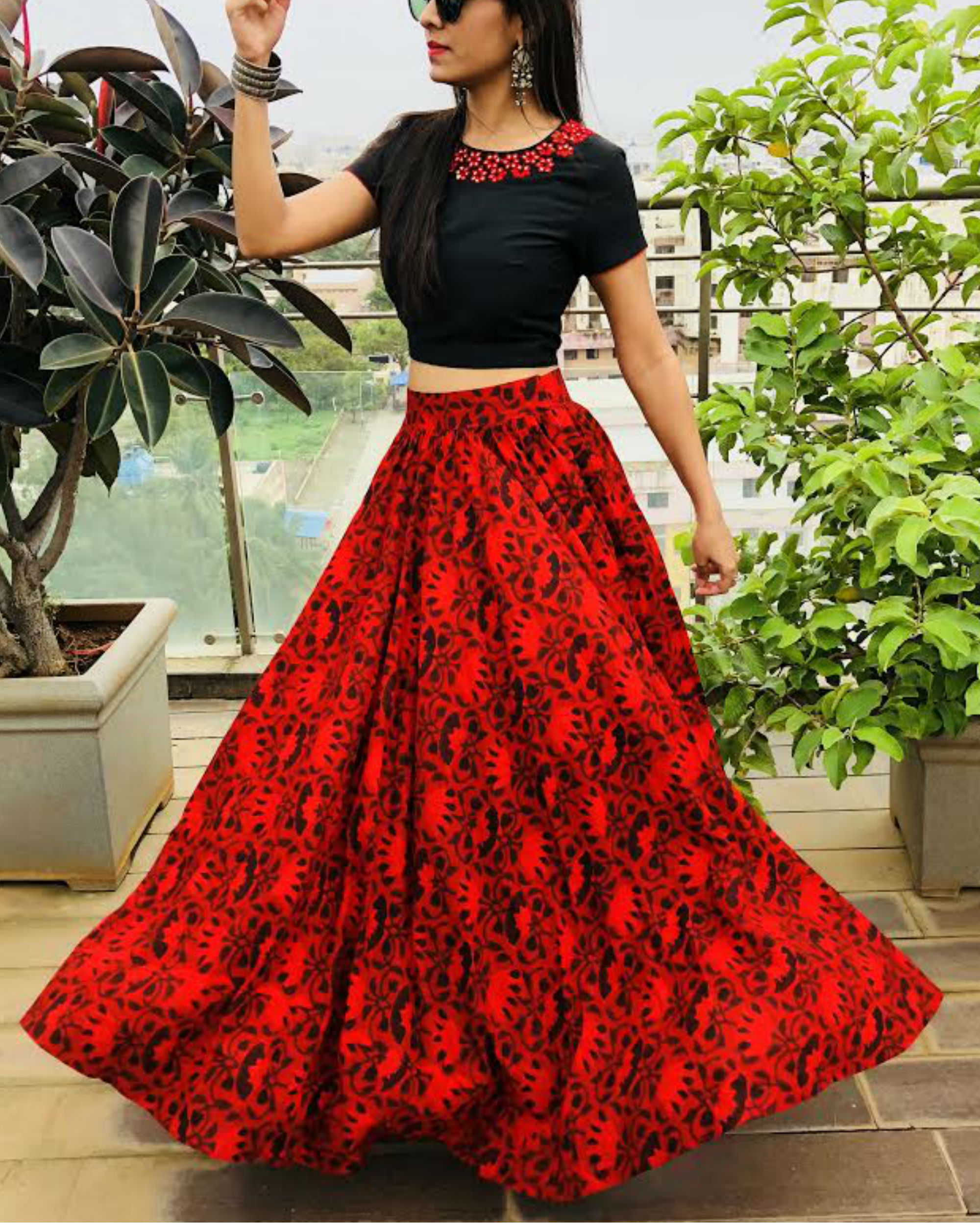 b38407c6b5 Red and black crop top and skirt set by Threeness | The Secret Label