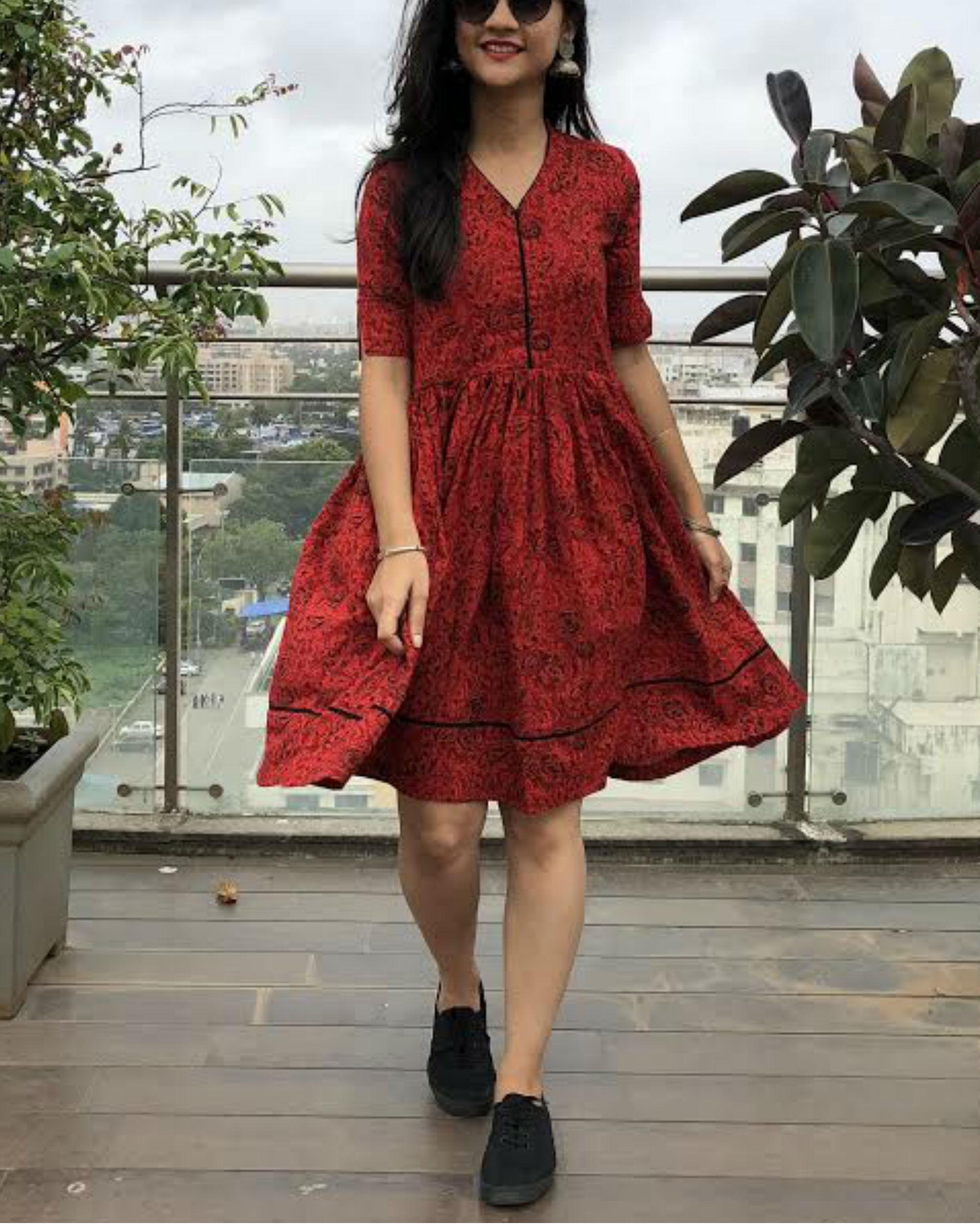 Maroon flared dress