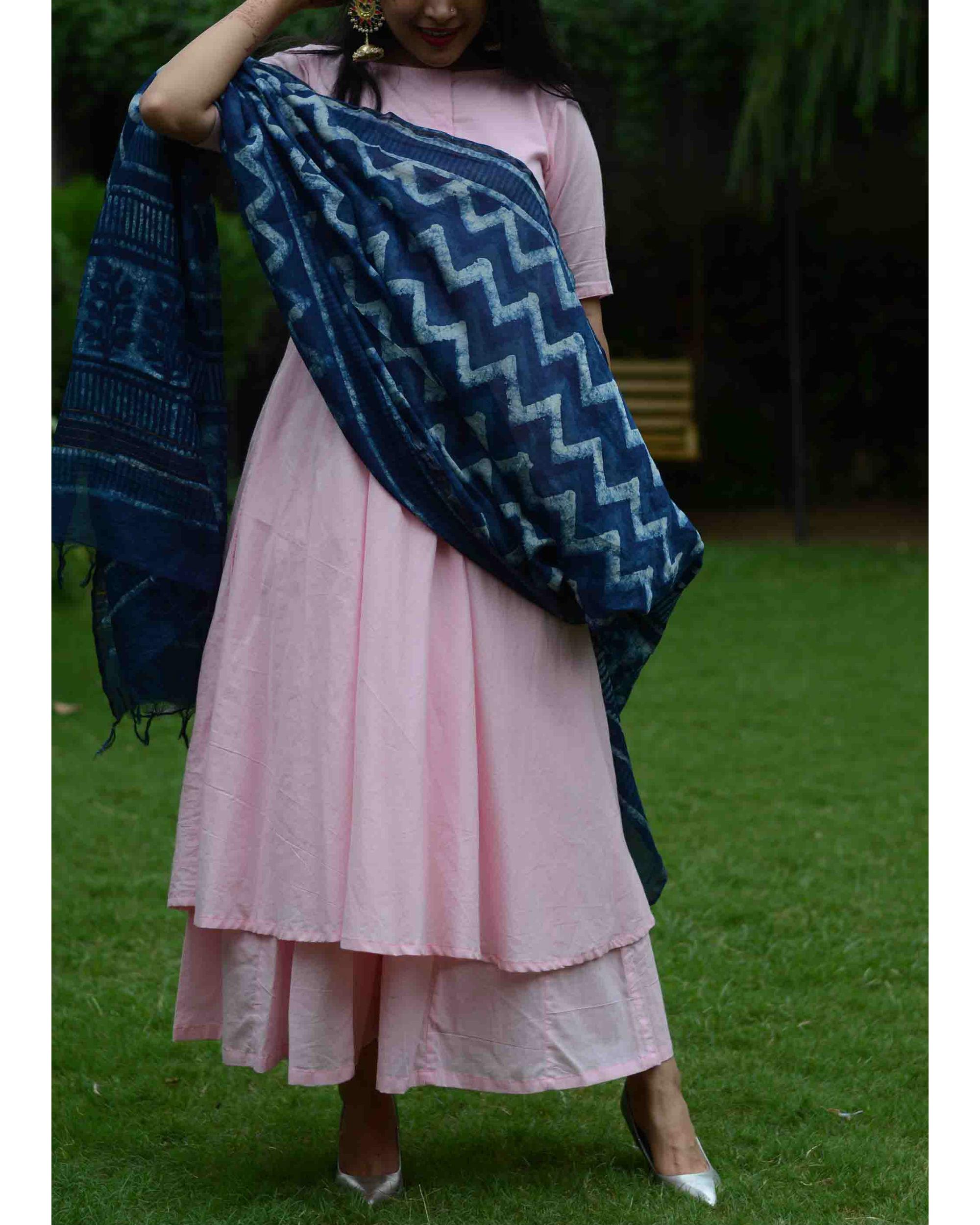 Baby pink suit set with indigo dupatta
