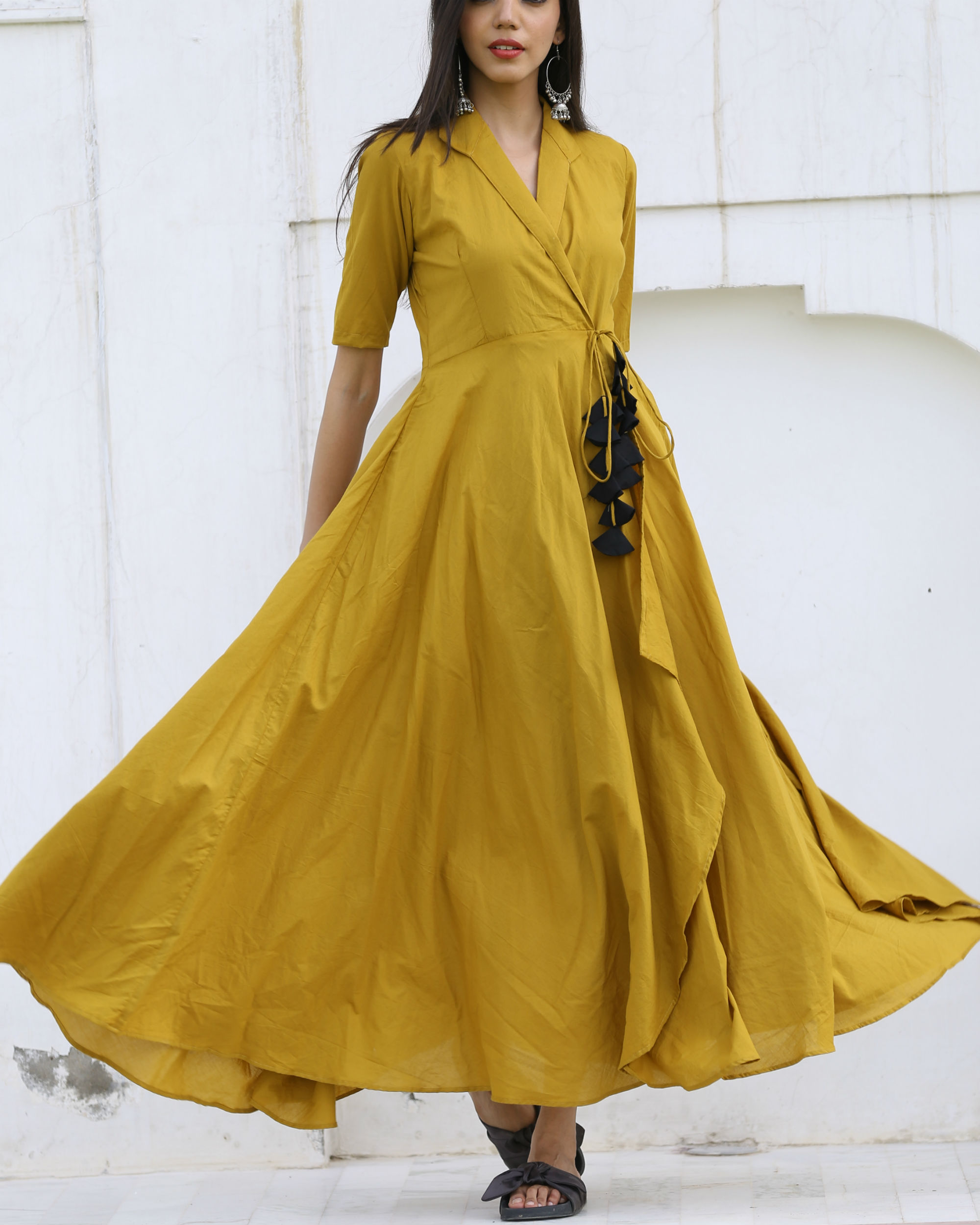 Olive flared dress