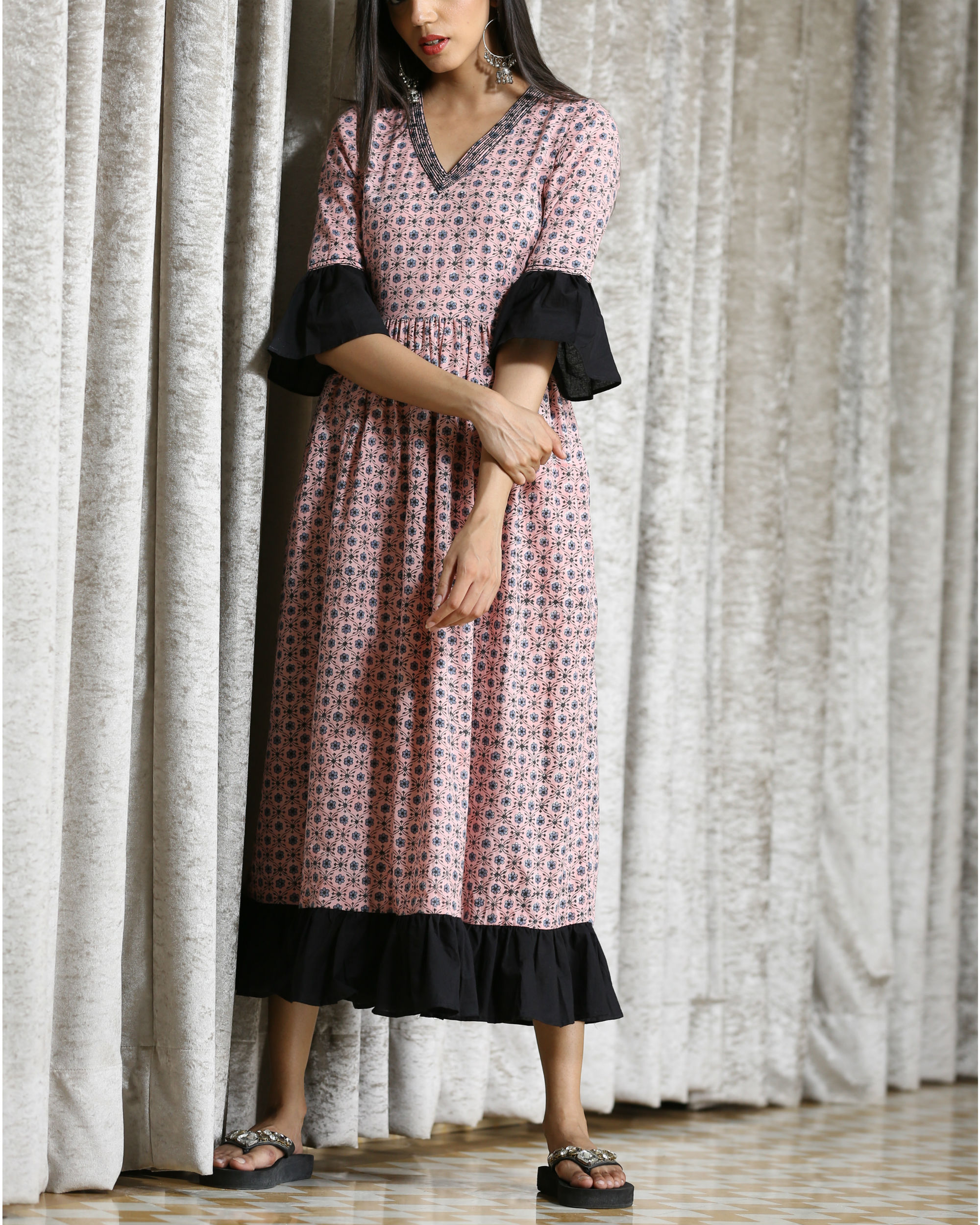 Pink and black frill maxi