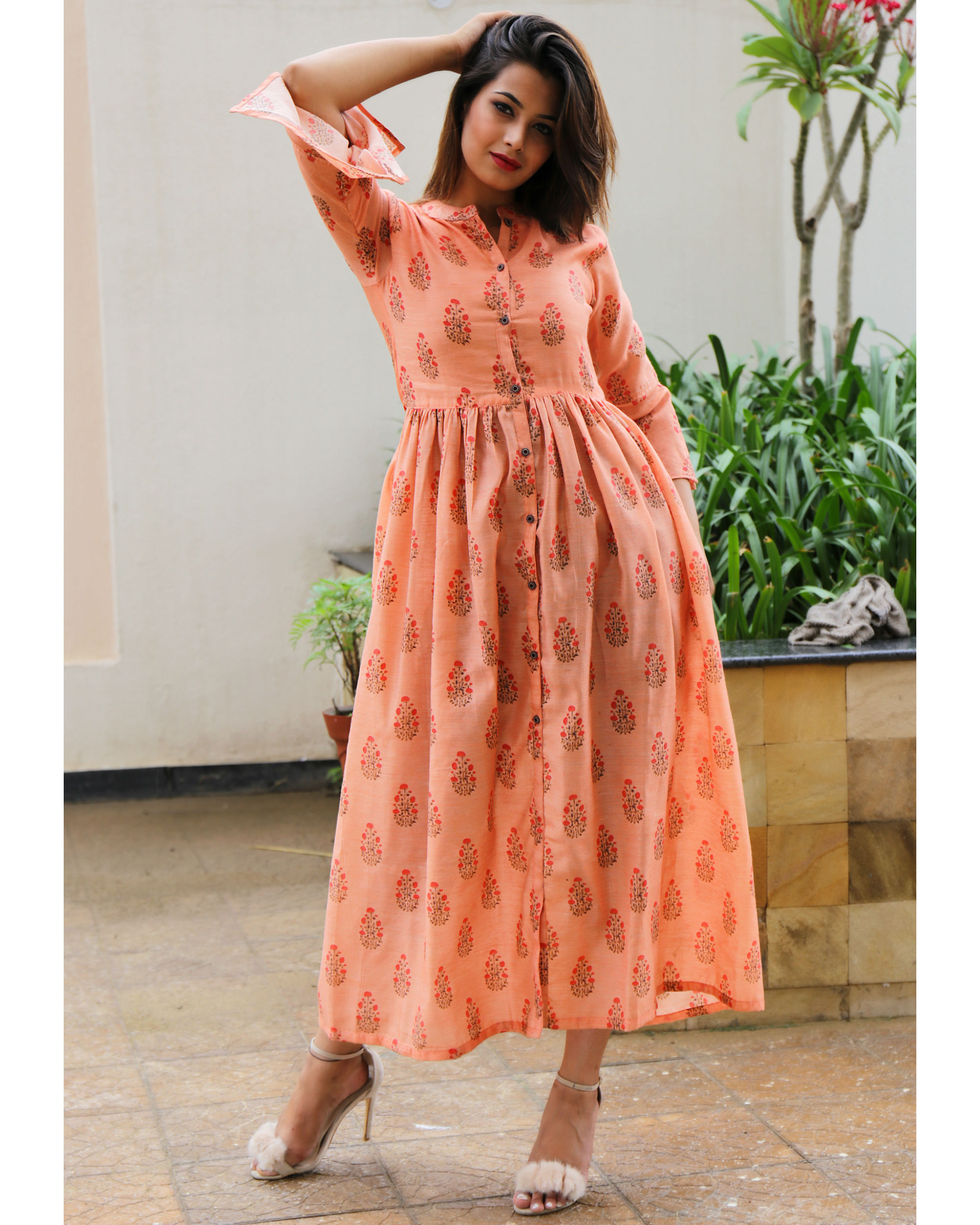 Peach chanderi floral dress